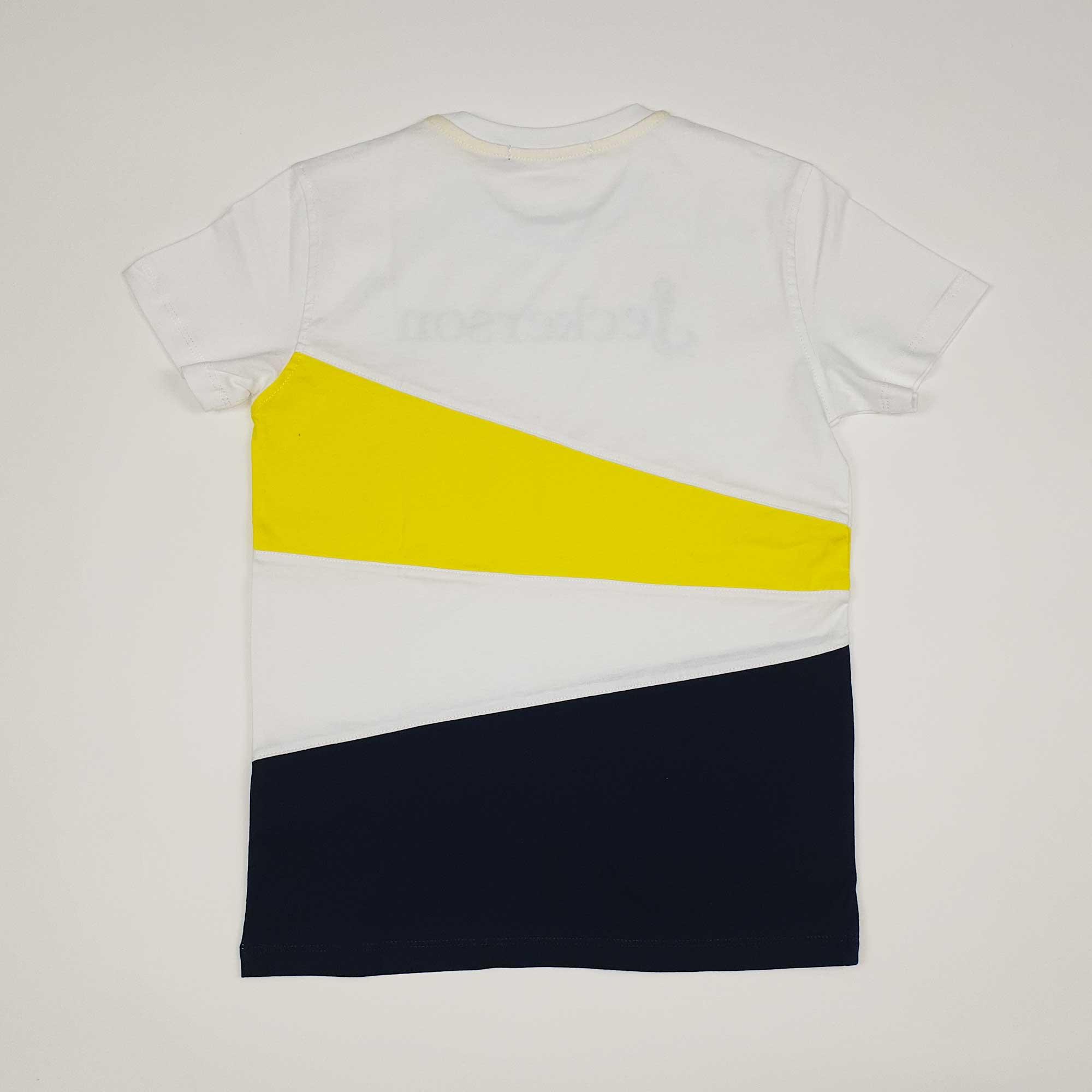 T-shirt stampa geometric - Bianco/ Giallo/ Blu