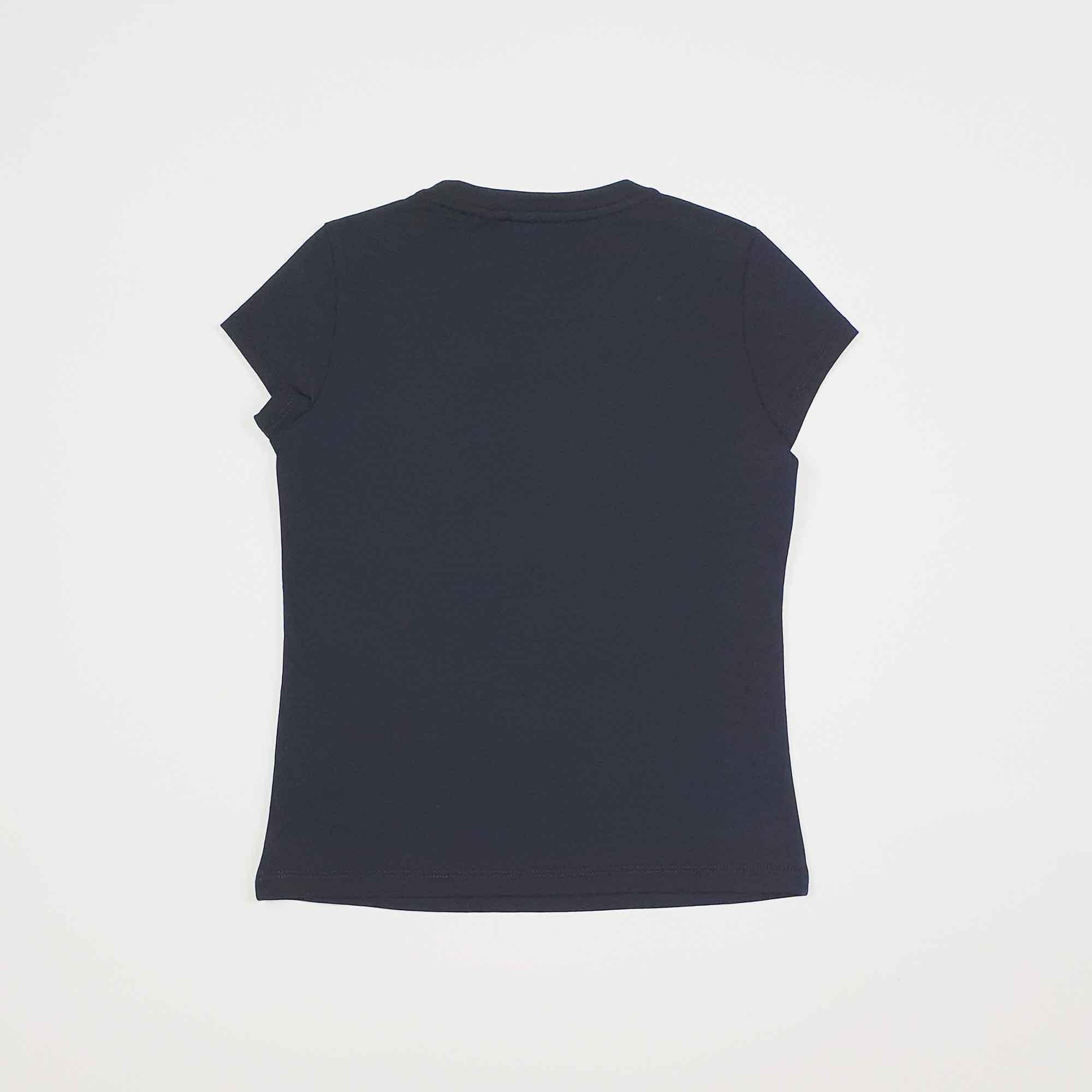 T-shirt girl maxi logo e strass - Nero