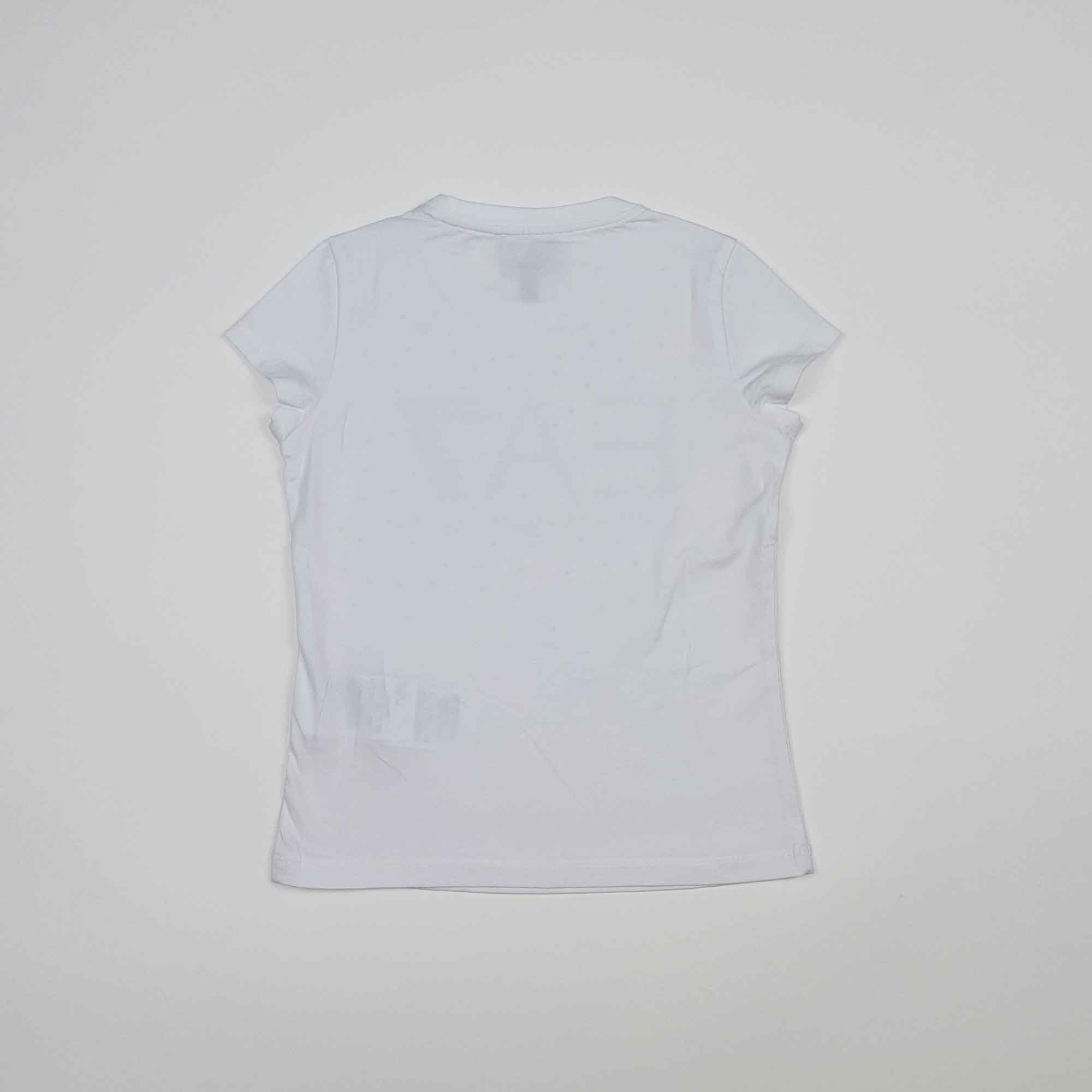T-shirt girl maxi logo e strass - Bianco