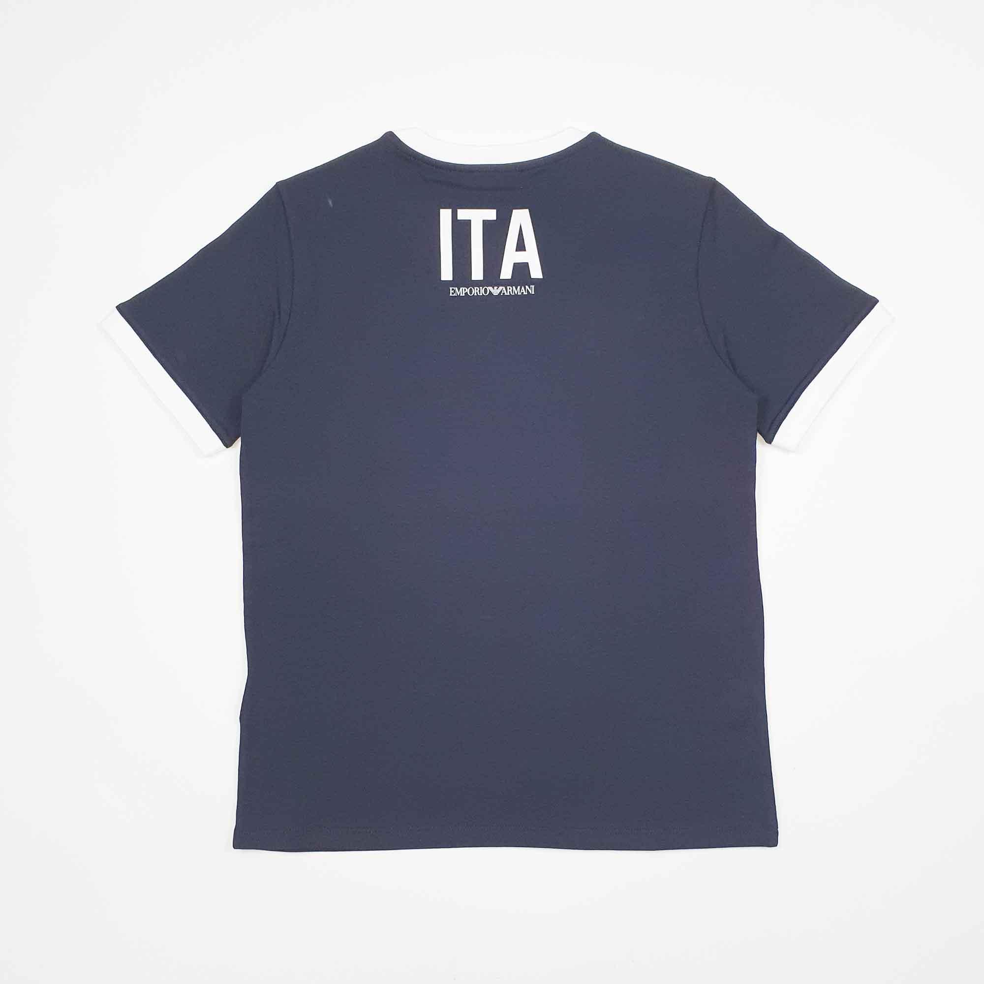 T-shirt boy logo tricolore - Blu