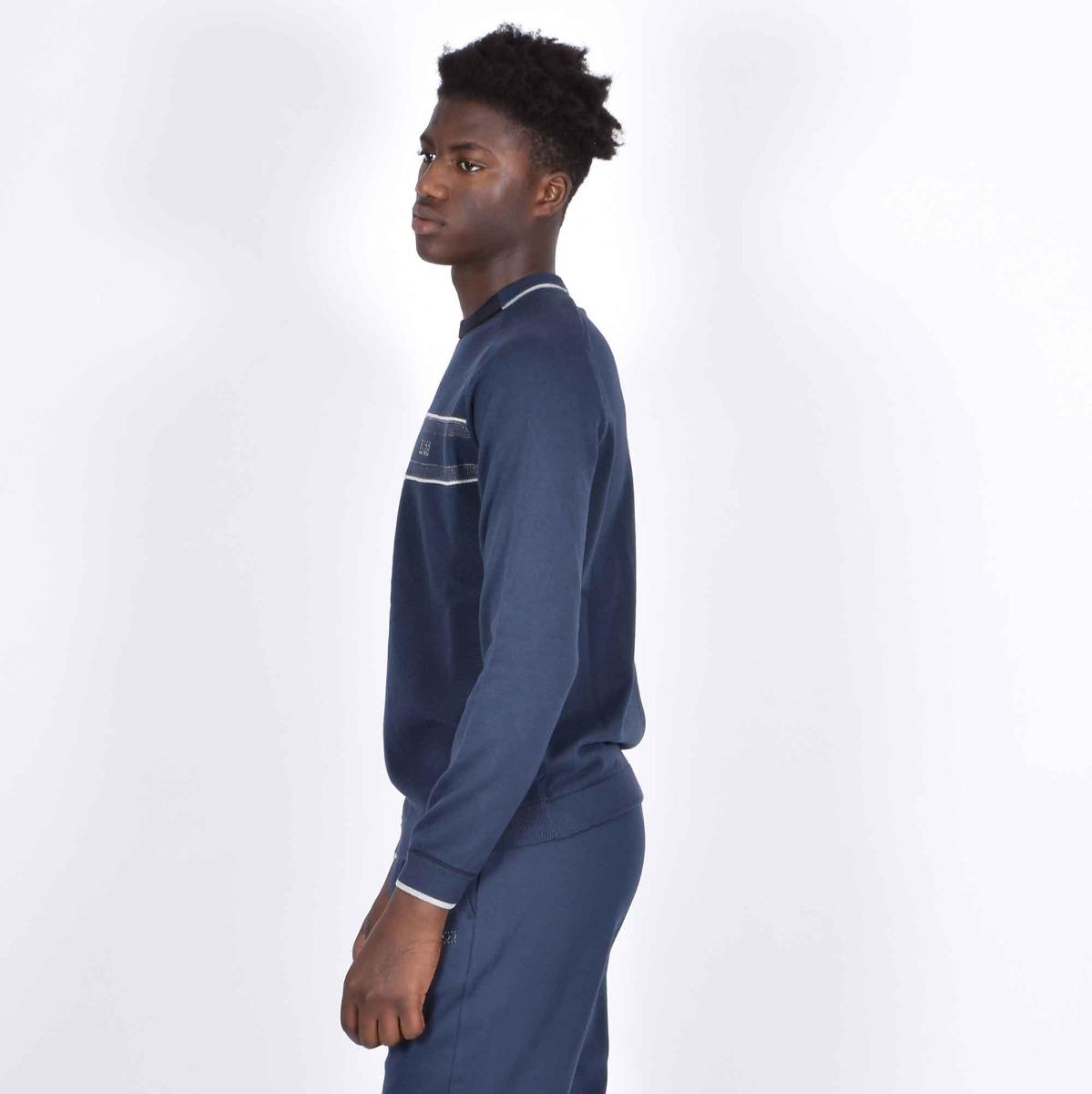 Maglione riga orizzontale - Blu navy