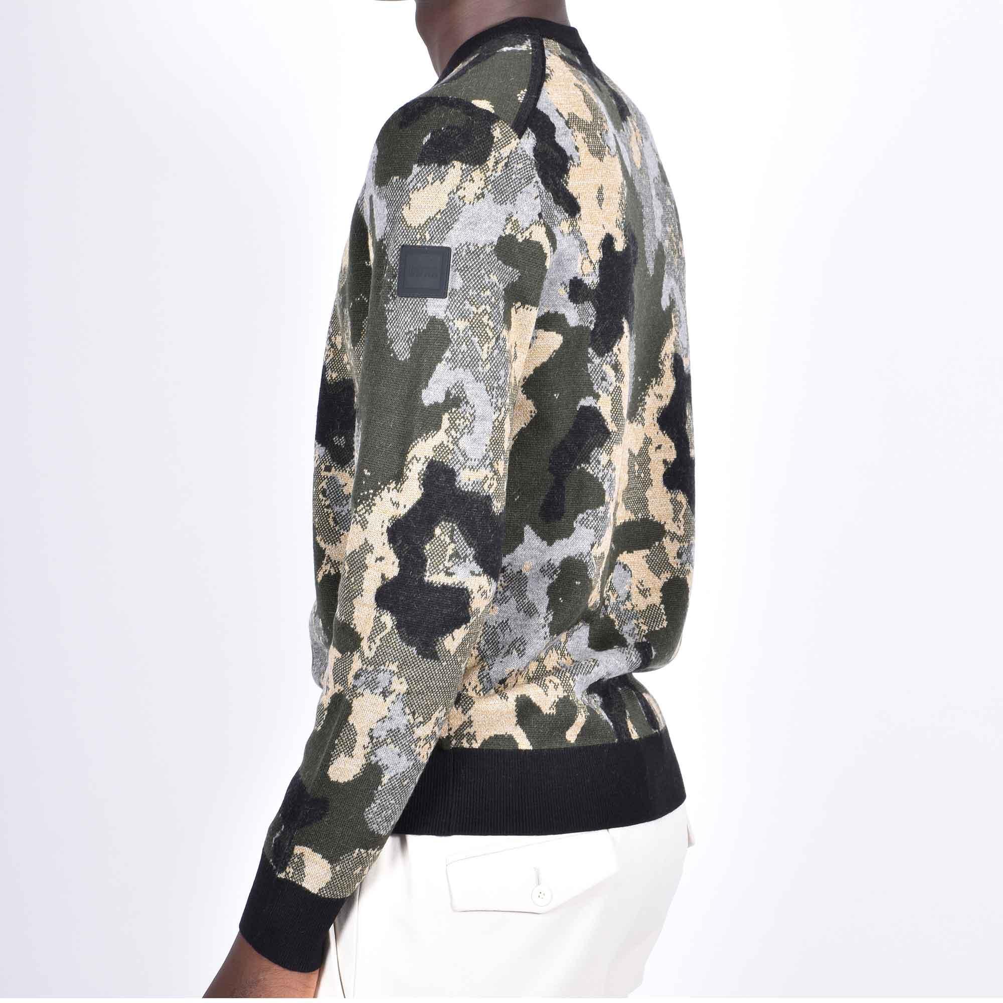 Maglione camouflage logo gommato - Nero