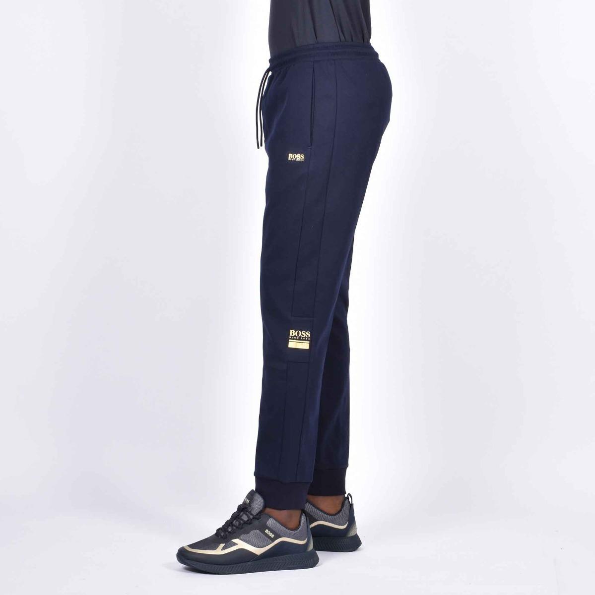 Pantalone tuta logo gold - Blu navy