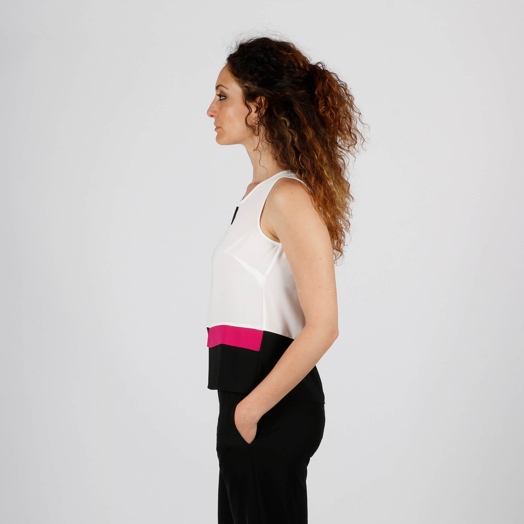 Blusa senza maniche - Bianco/ Fuxia