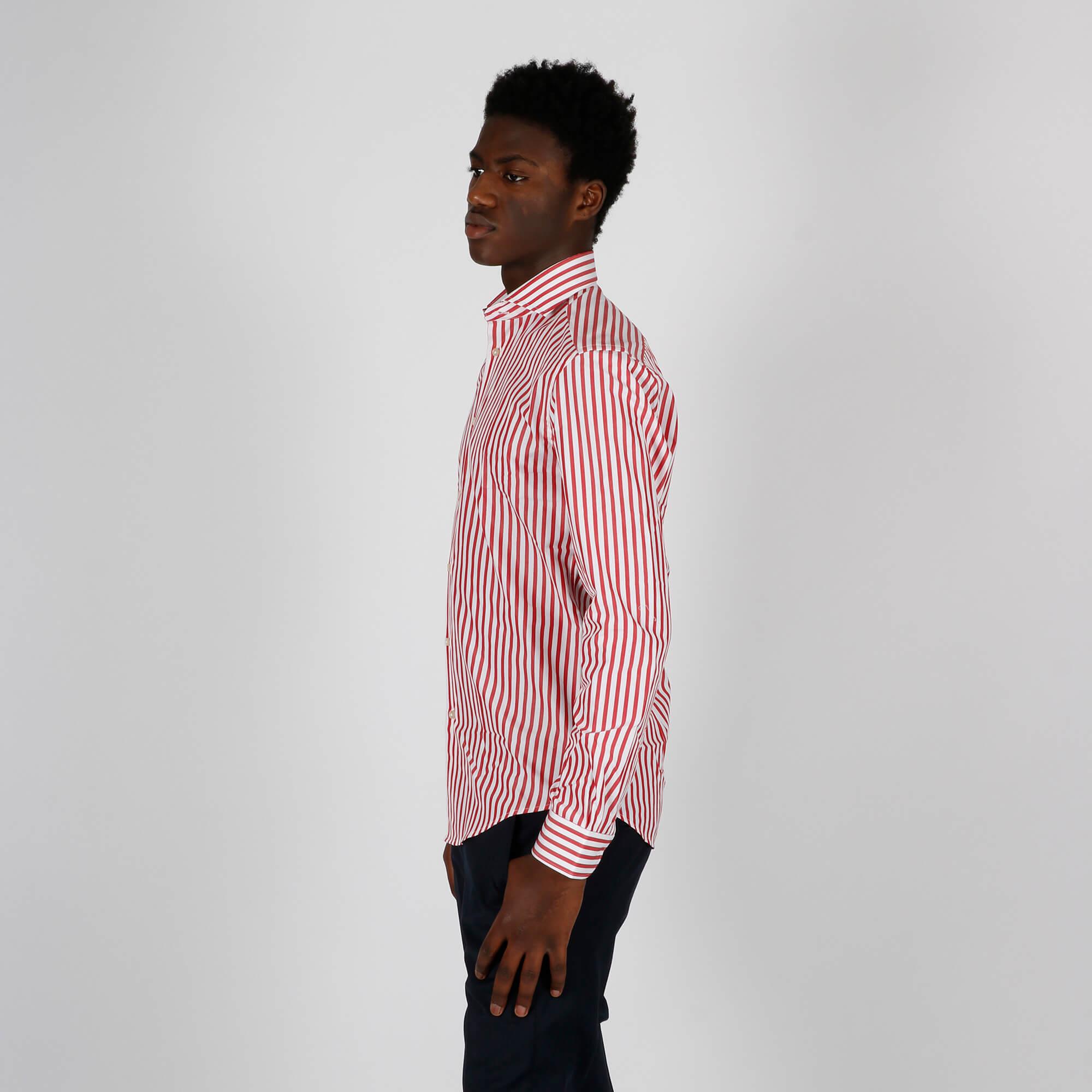 Camicia fantasia righe - Rosso