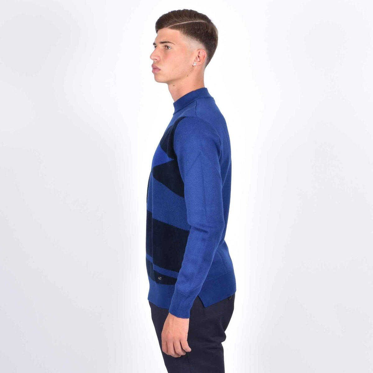 Pullover color block- Blu