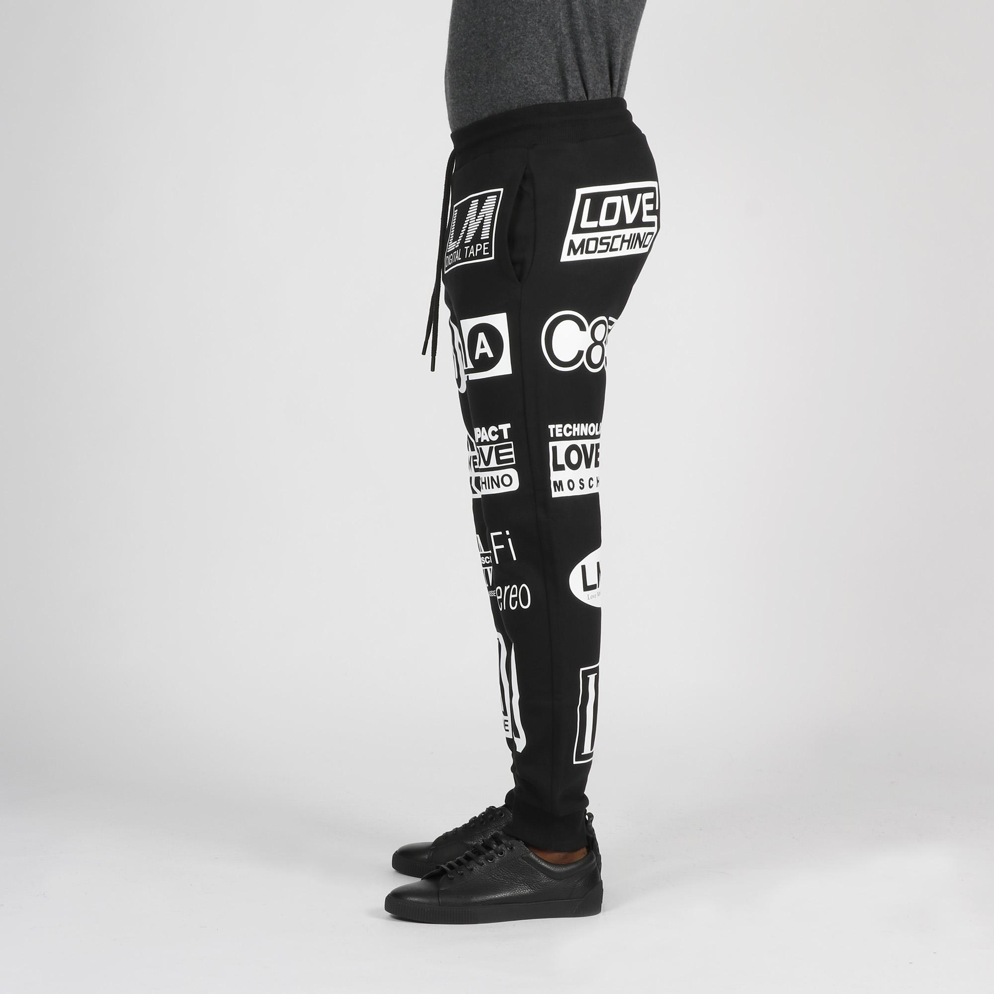 Pantalone felpa stampa logo digitale - Nero