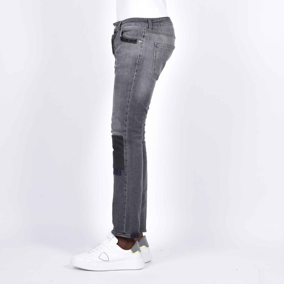 Jeans con toppe cucite - Denim grigio