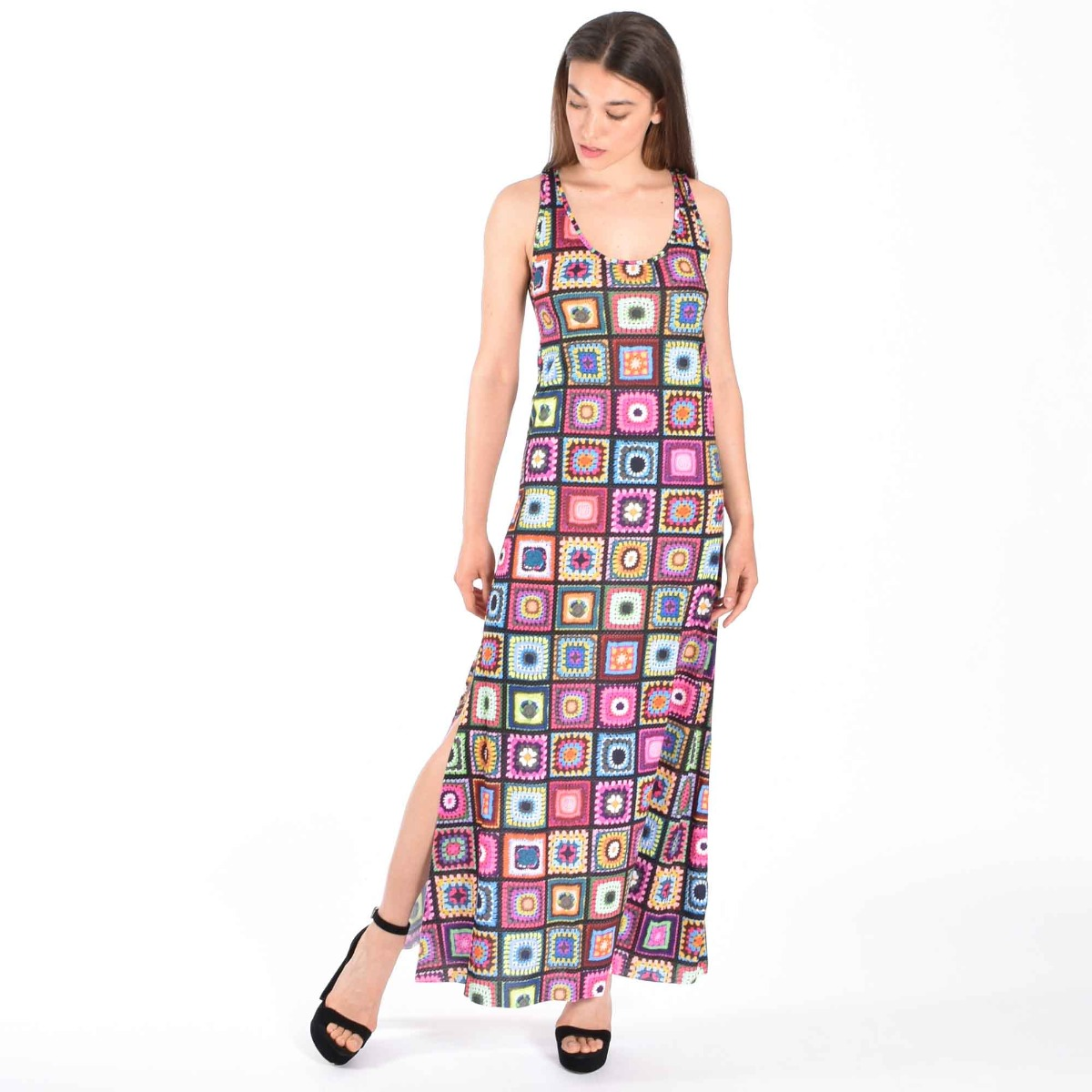 Abito lungo crochet- Multicolor