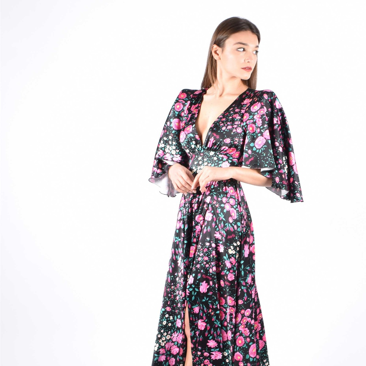 Wrap dress garden- Nero