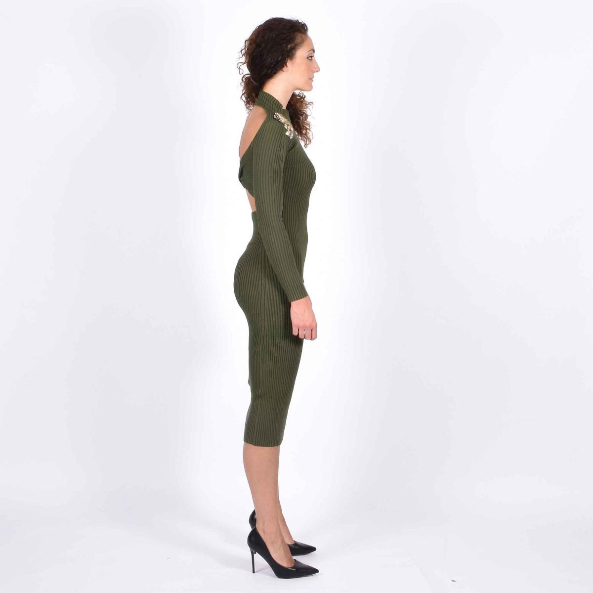 Abito in maglia applicazioni spalle- Verde militare