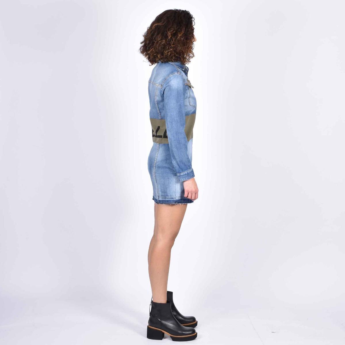 Camicione jeans banda logata- Denim medio