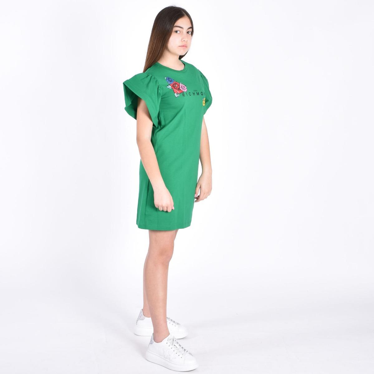 Abito cronk logo e fiori- Verde