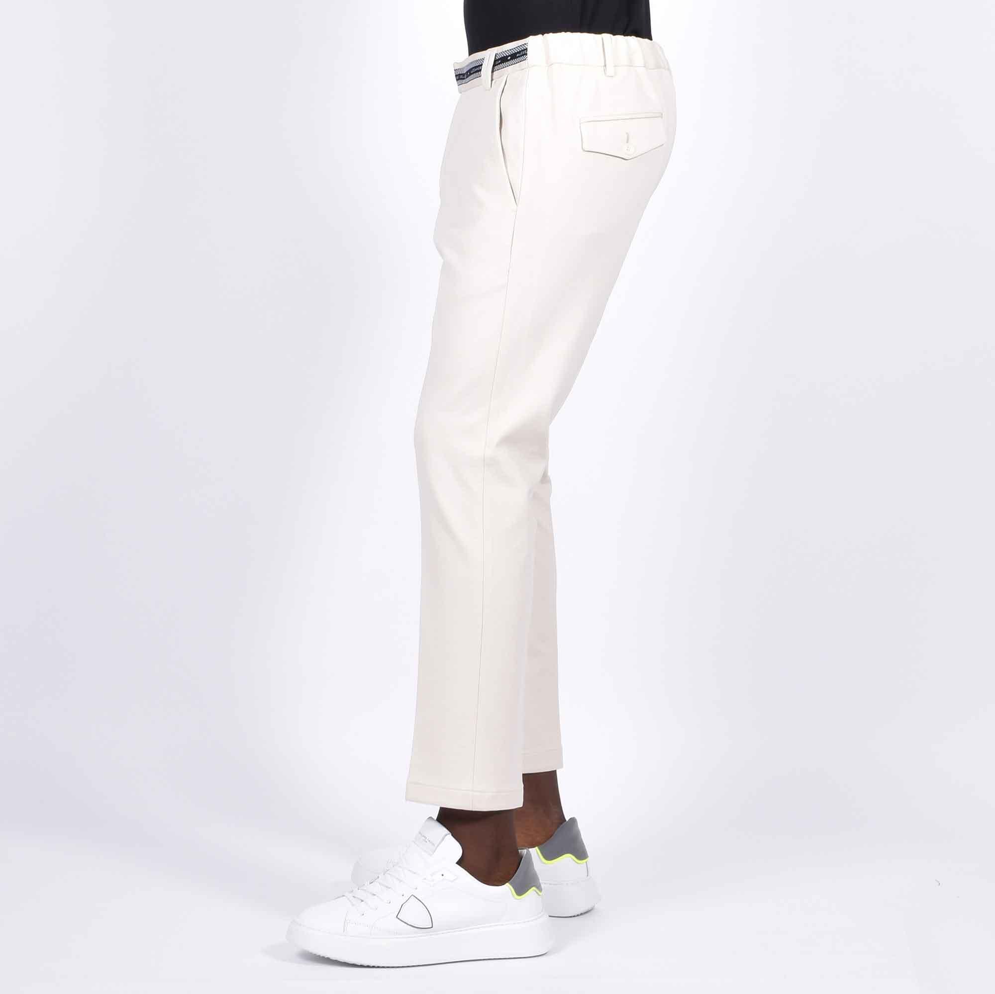 Pantalone in maglia logo vita - Panna