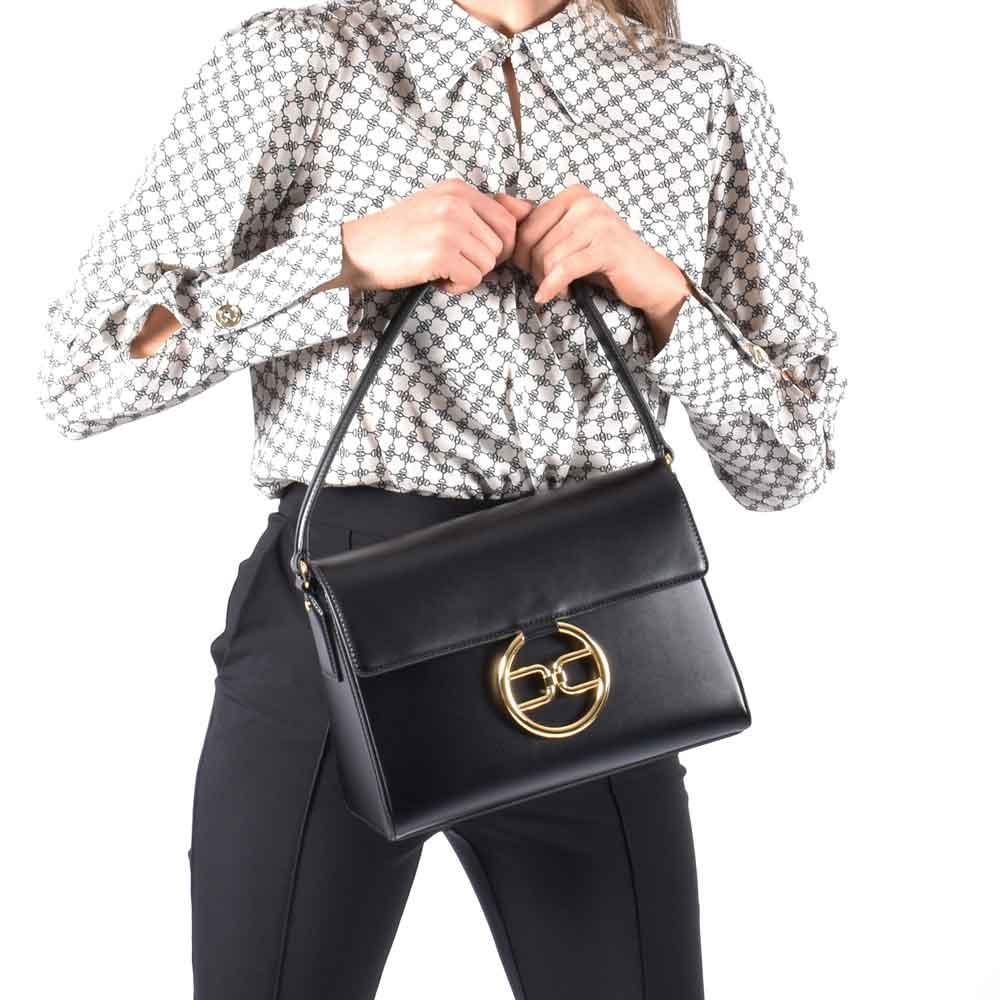 Bag fibbia logo- Nero