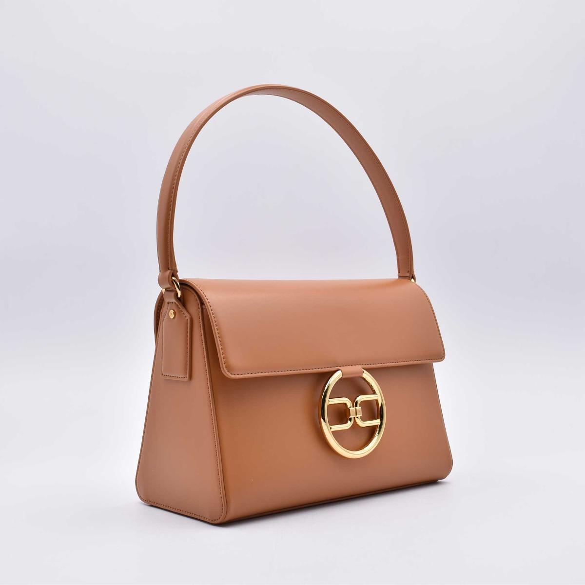 Bag fibbia logo - Cuoio