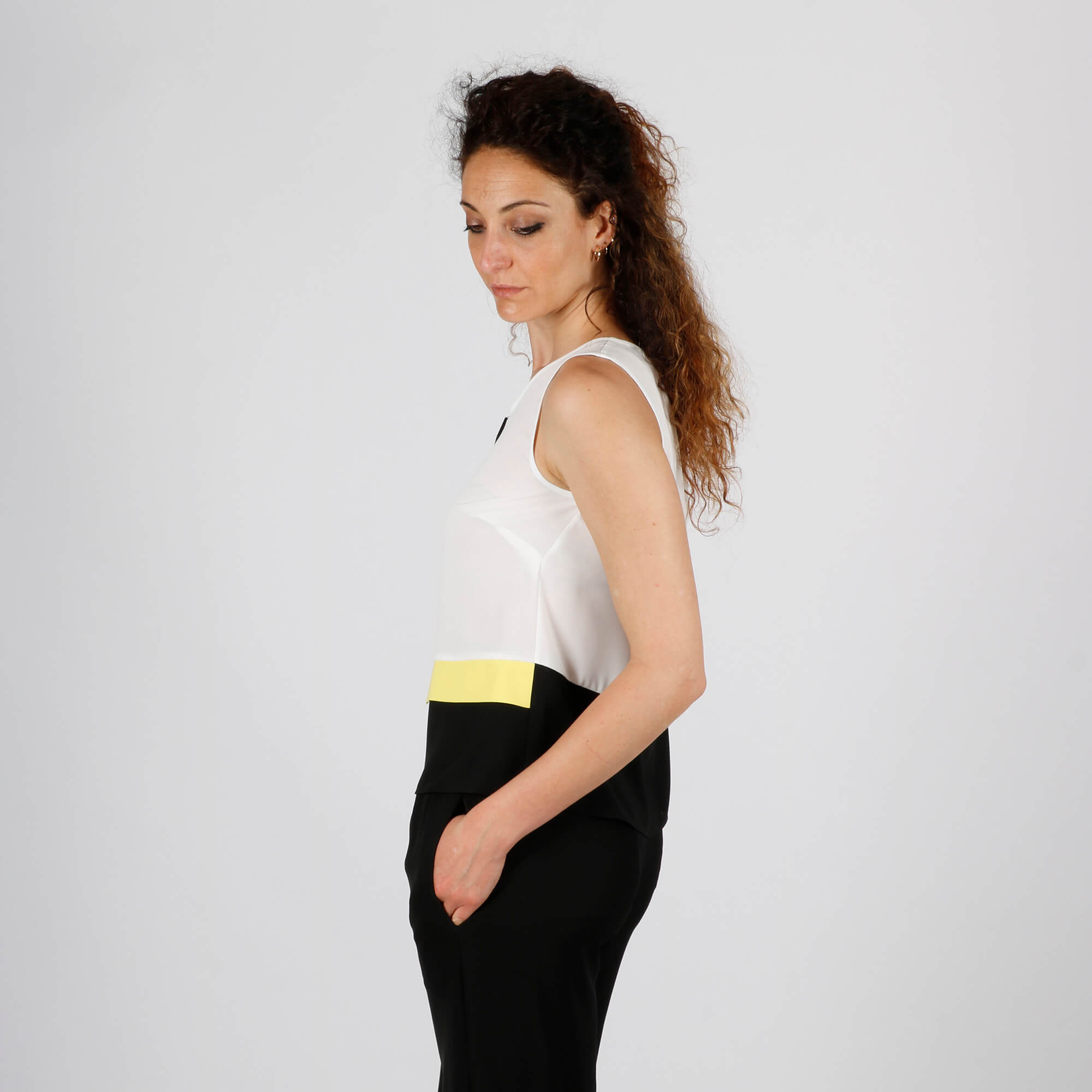 Blusa applicazione - Bianco/ Giallo