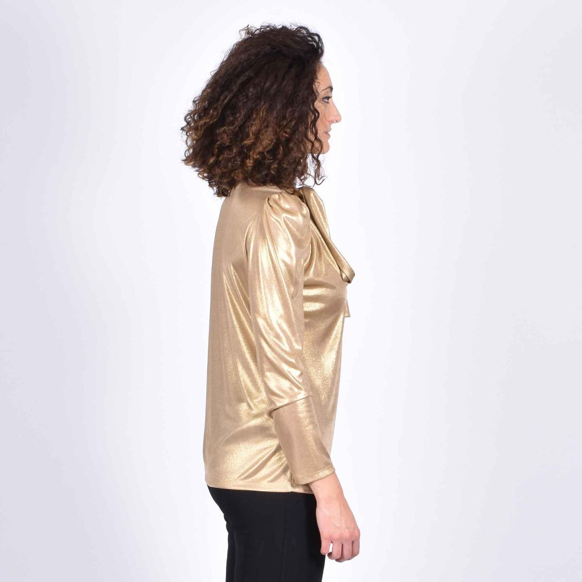 Blusa effetto laminato- Oro