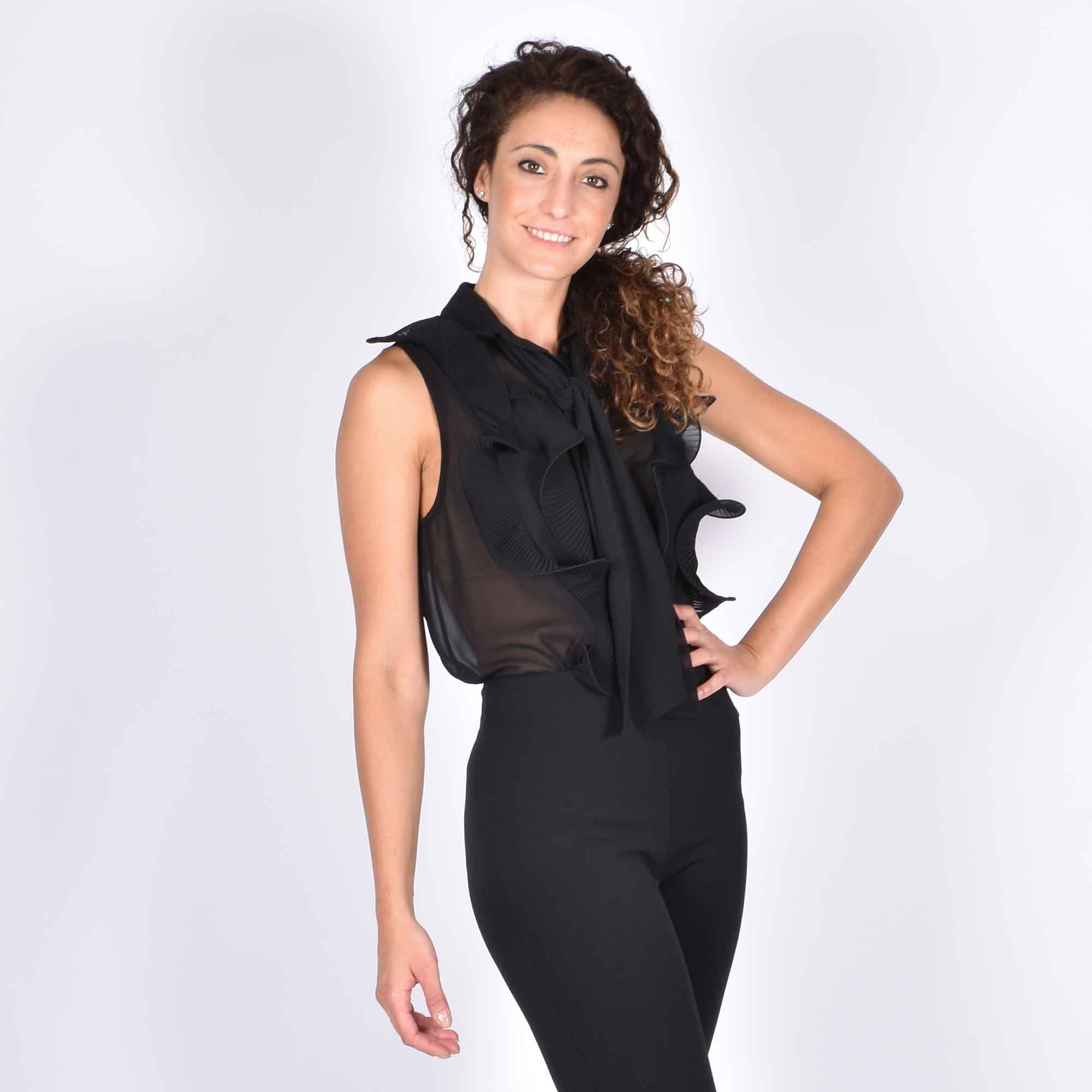 Body con rouches- Nero