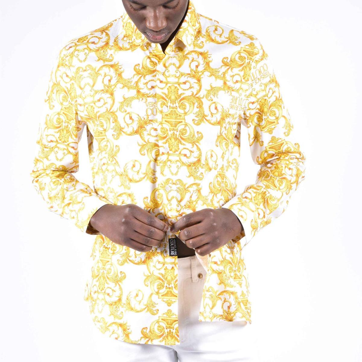 Camicia logo barocco oro - Bianco
