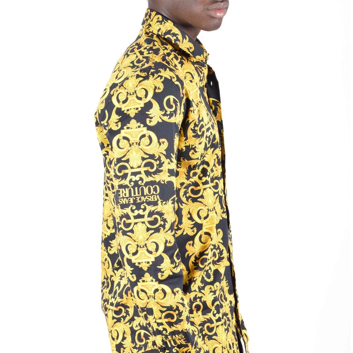 Camicia logo barocco oro - Nero