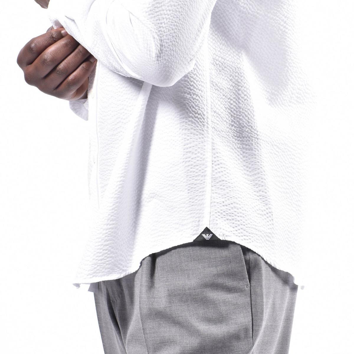Camicia collo coreano - Bianco