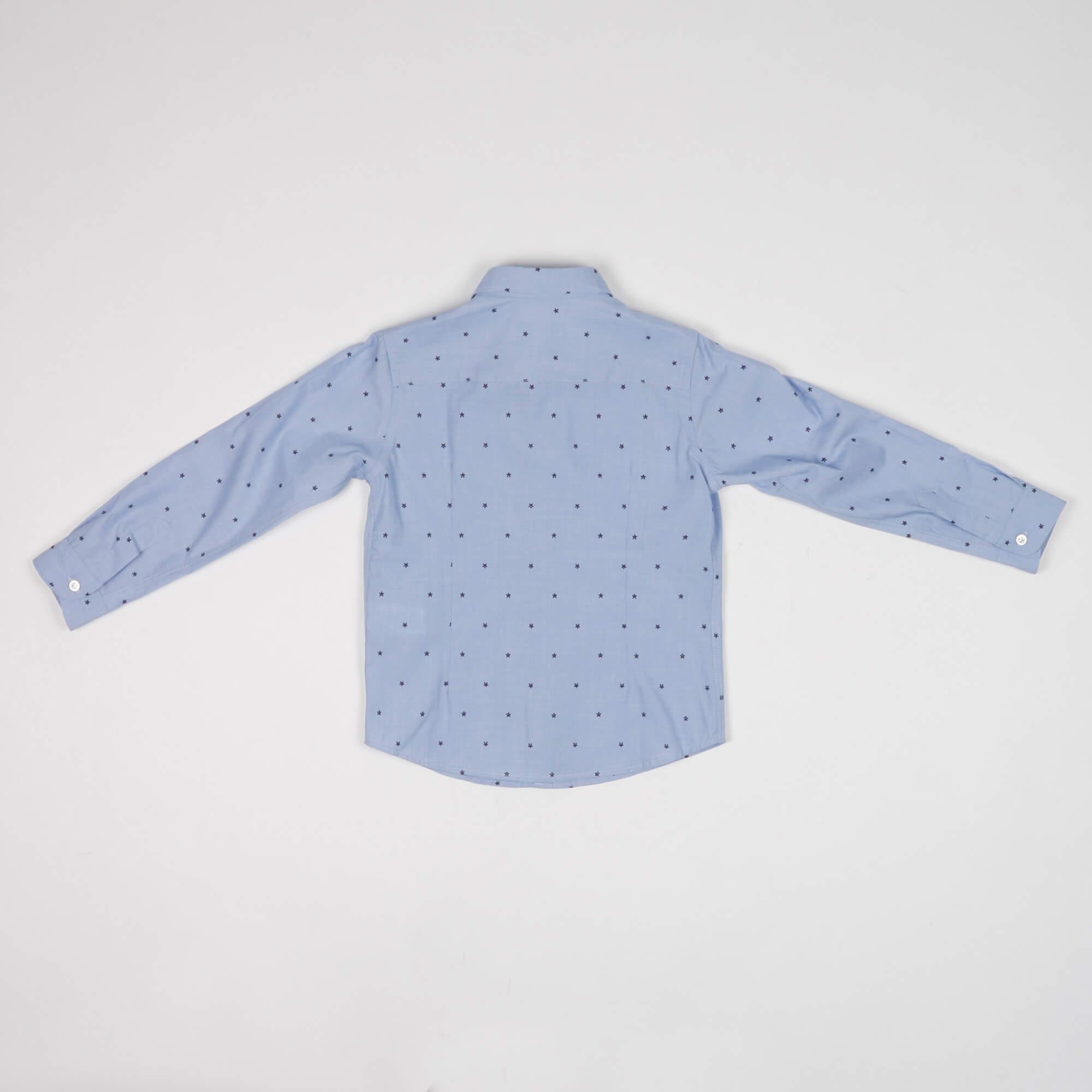 Camicia fantasia micro fiori- Azzurro