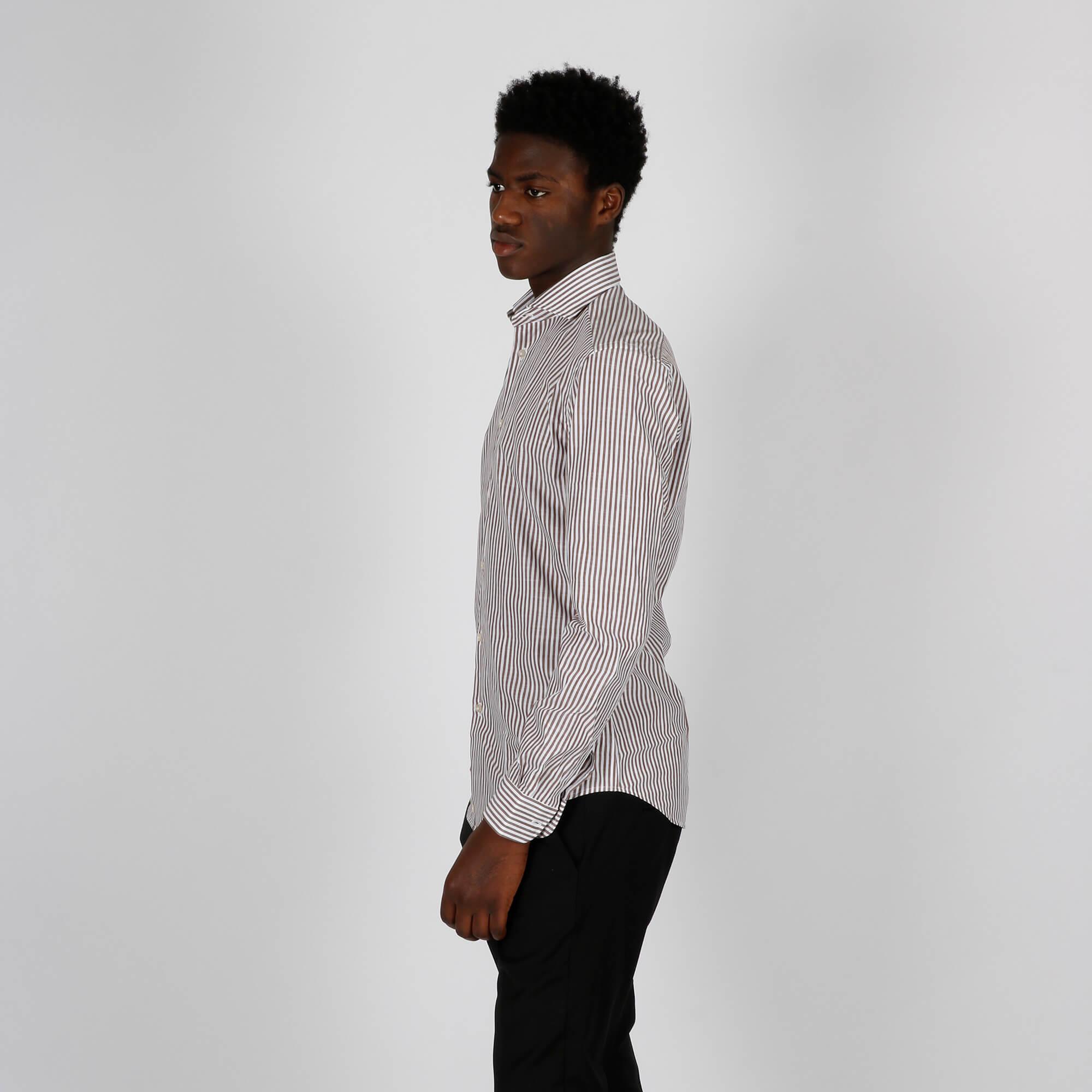 Camicia fantasia righe - Bianco/Marrone