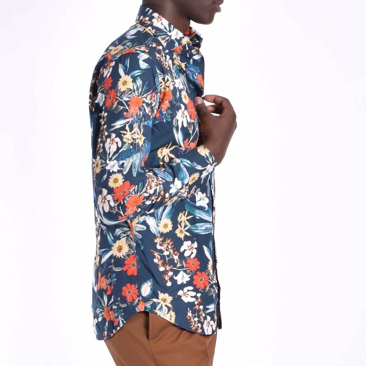 Camicia con fiori - Blu