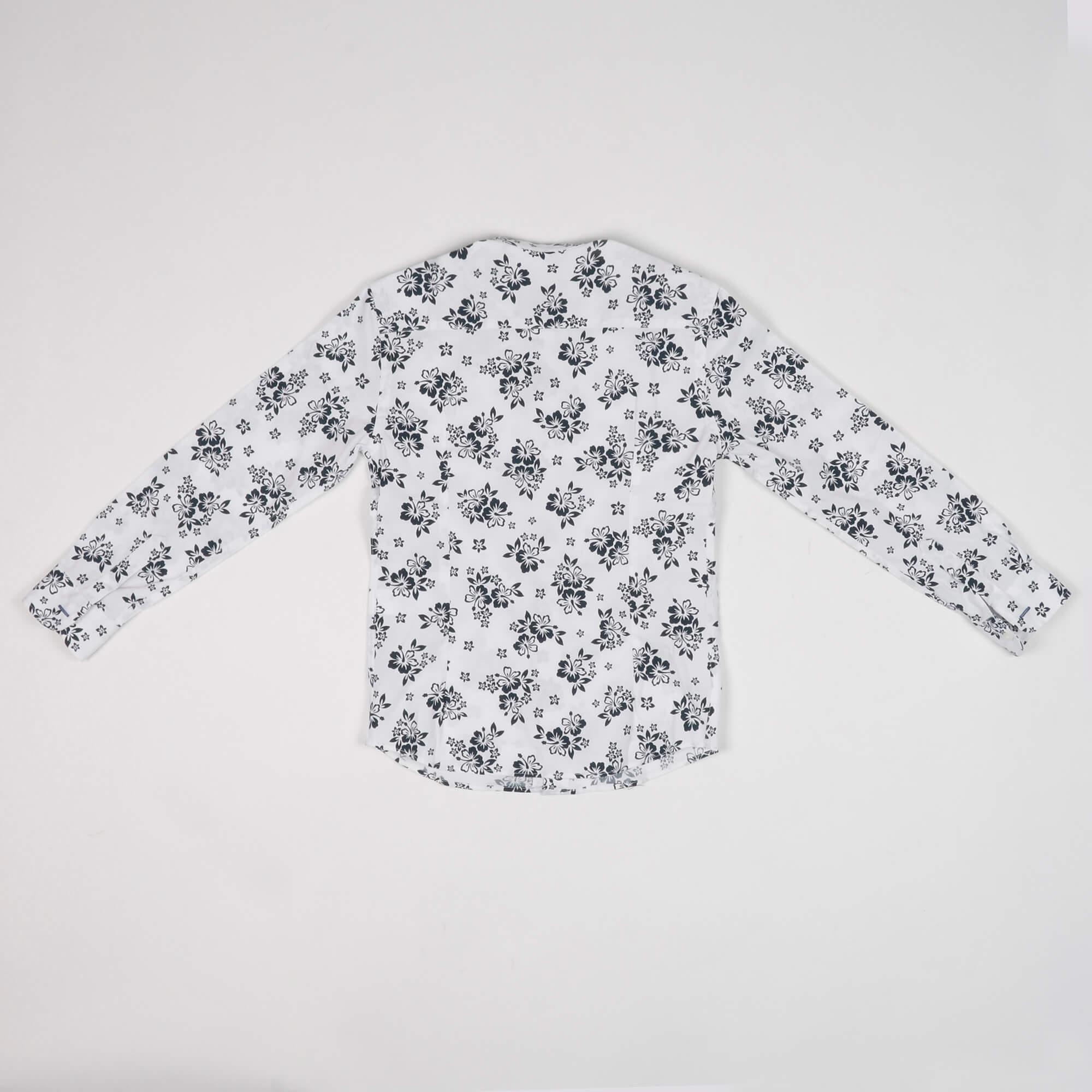 Camicia fantasia floreale- Bianco