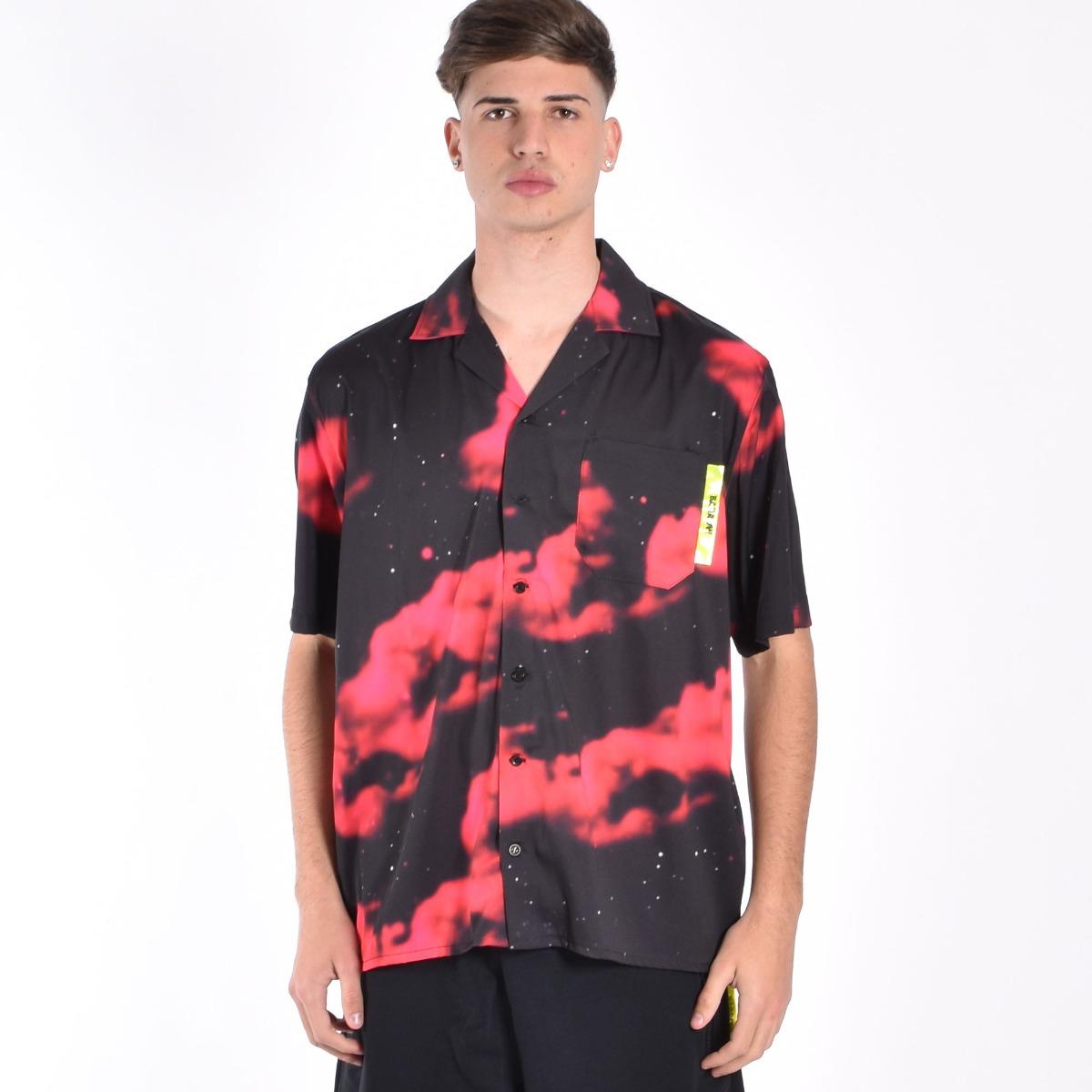 Camicia galassia - Nero/rosso