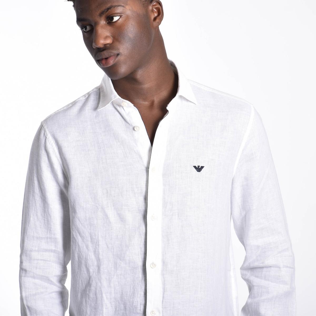 Camicia aquila in lino - Bianco