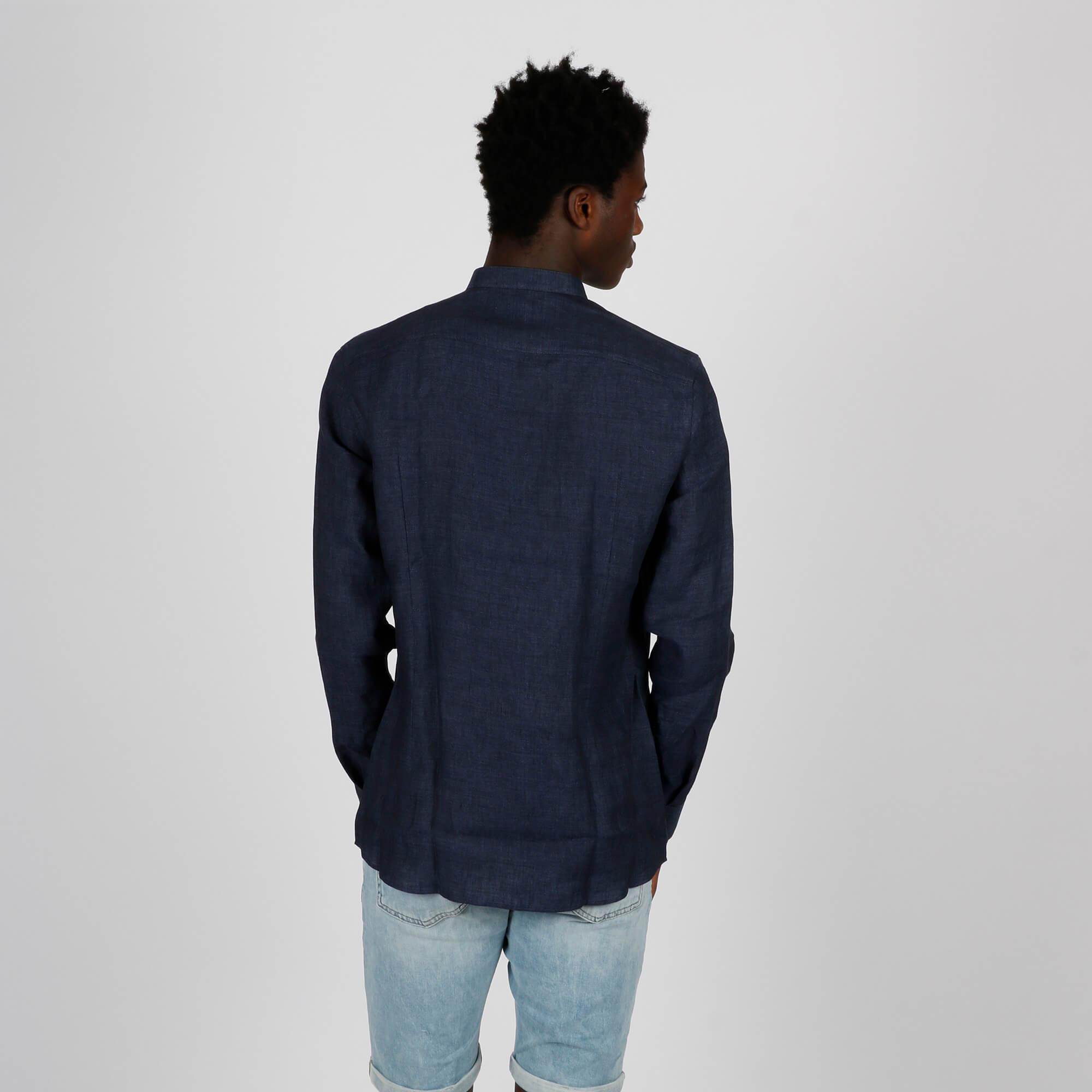 Camicia coreano lino - Navy