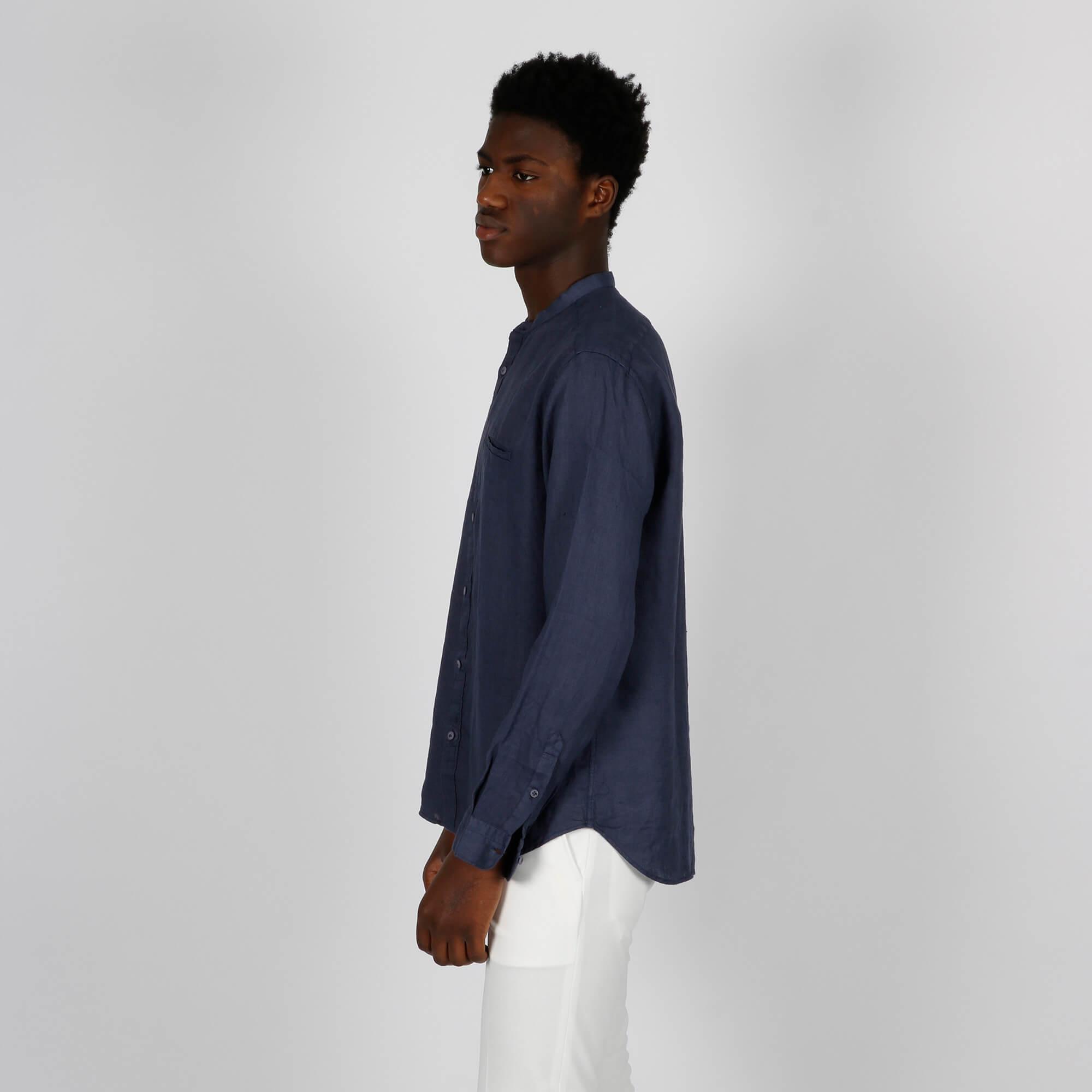 Camicia collo coreano - Blu