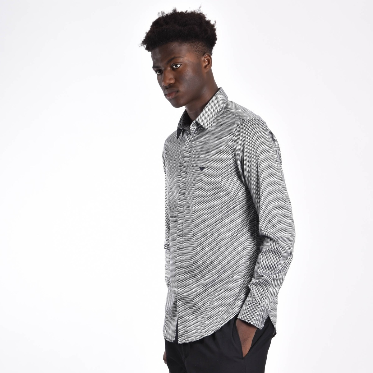Camicia microfantasia optical - Bianco