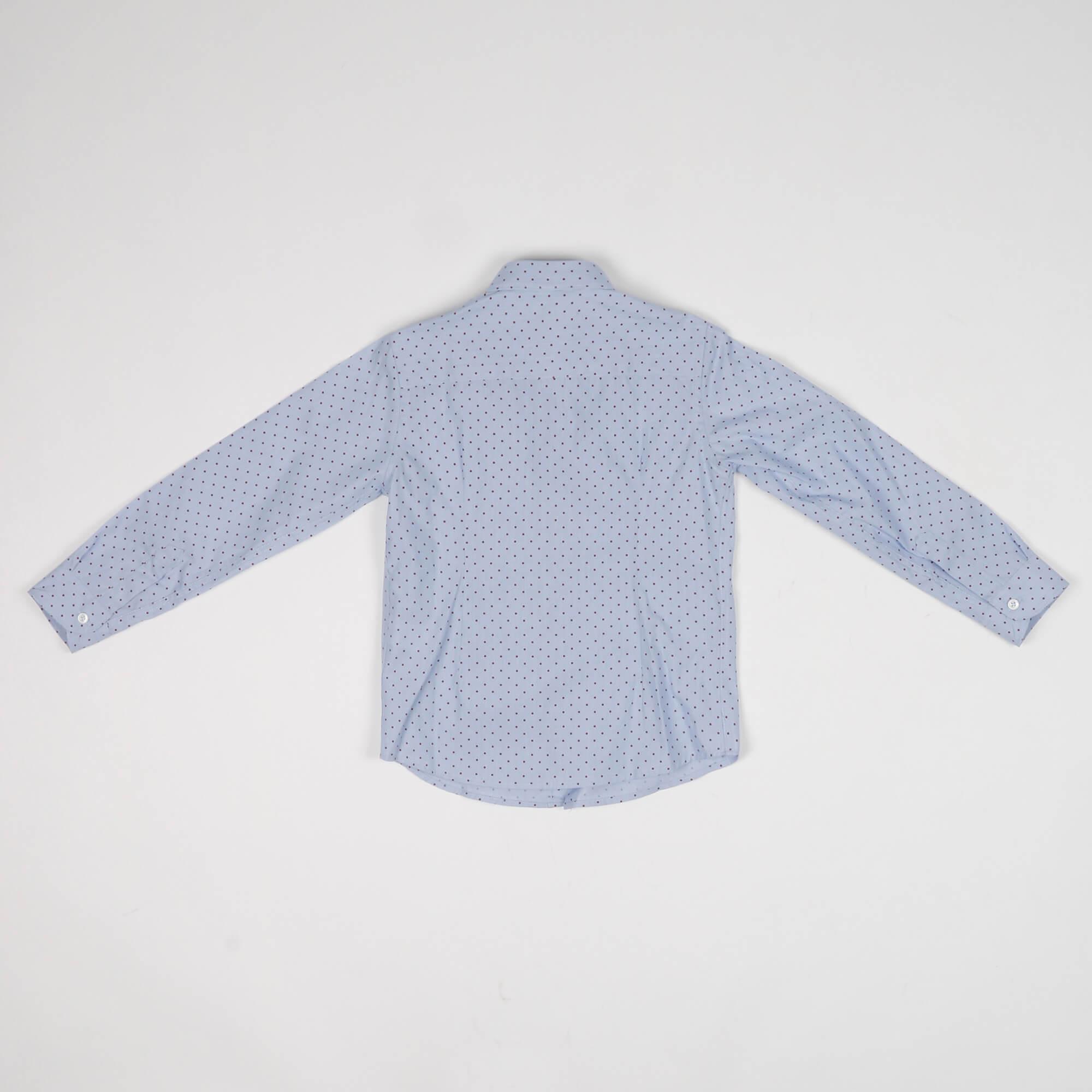 Camicia fantasia pois - Azzurro