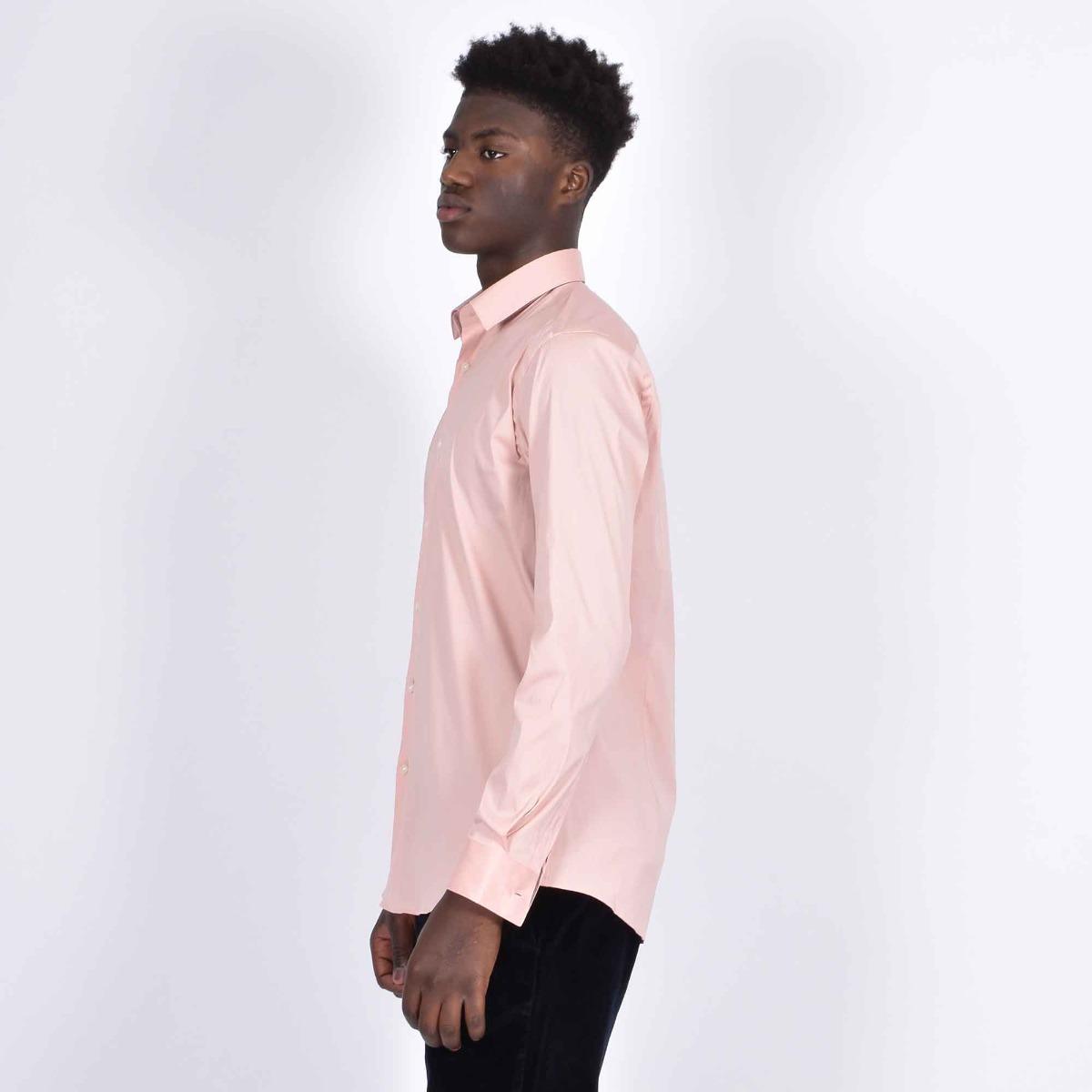 Camicia slim in popeline - Rosa