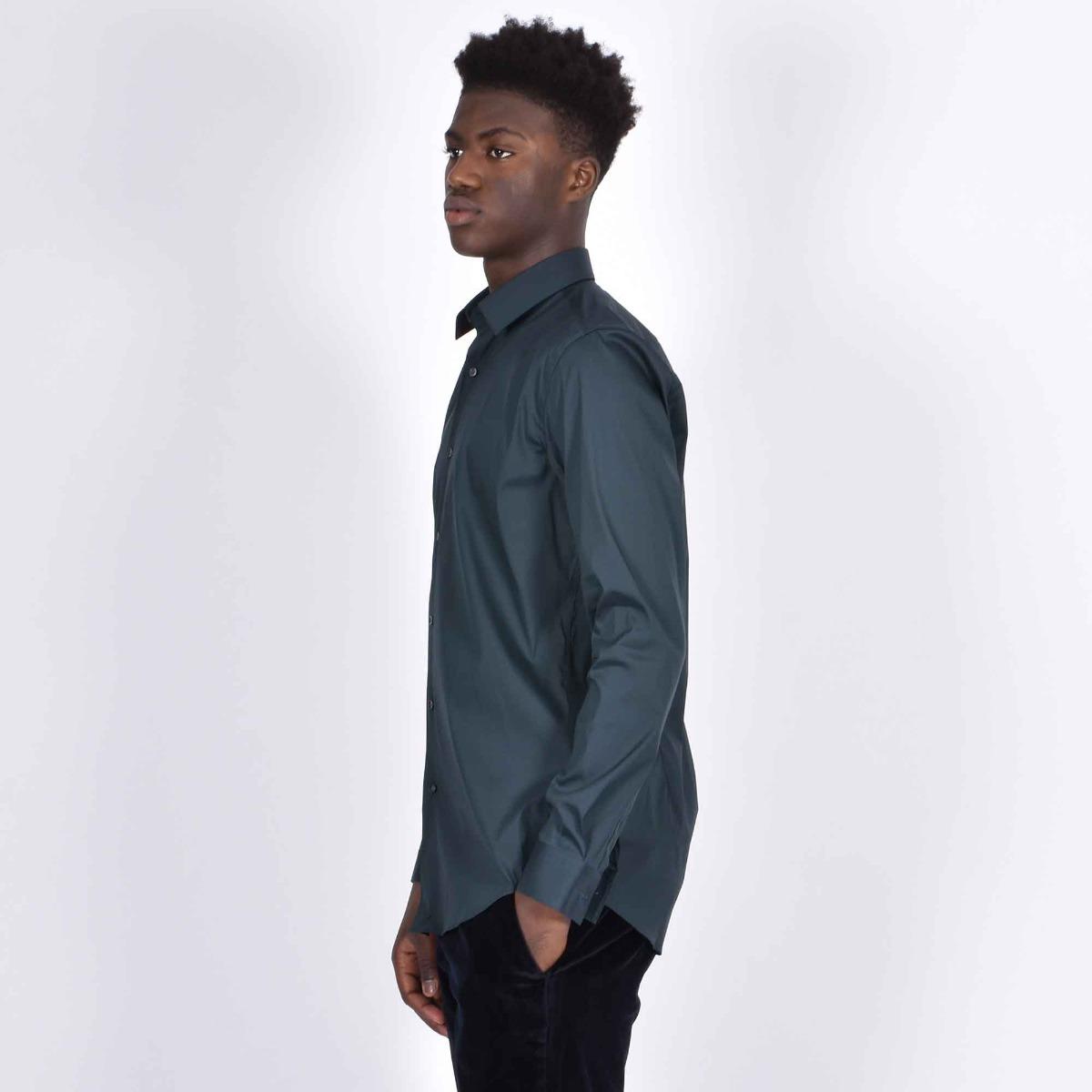 Camicia slim in popeline - Verde