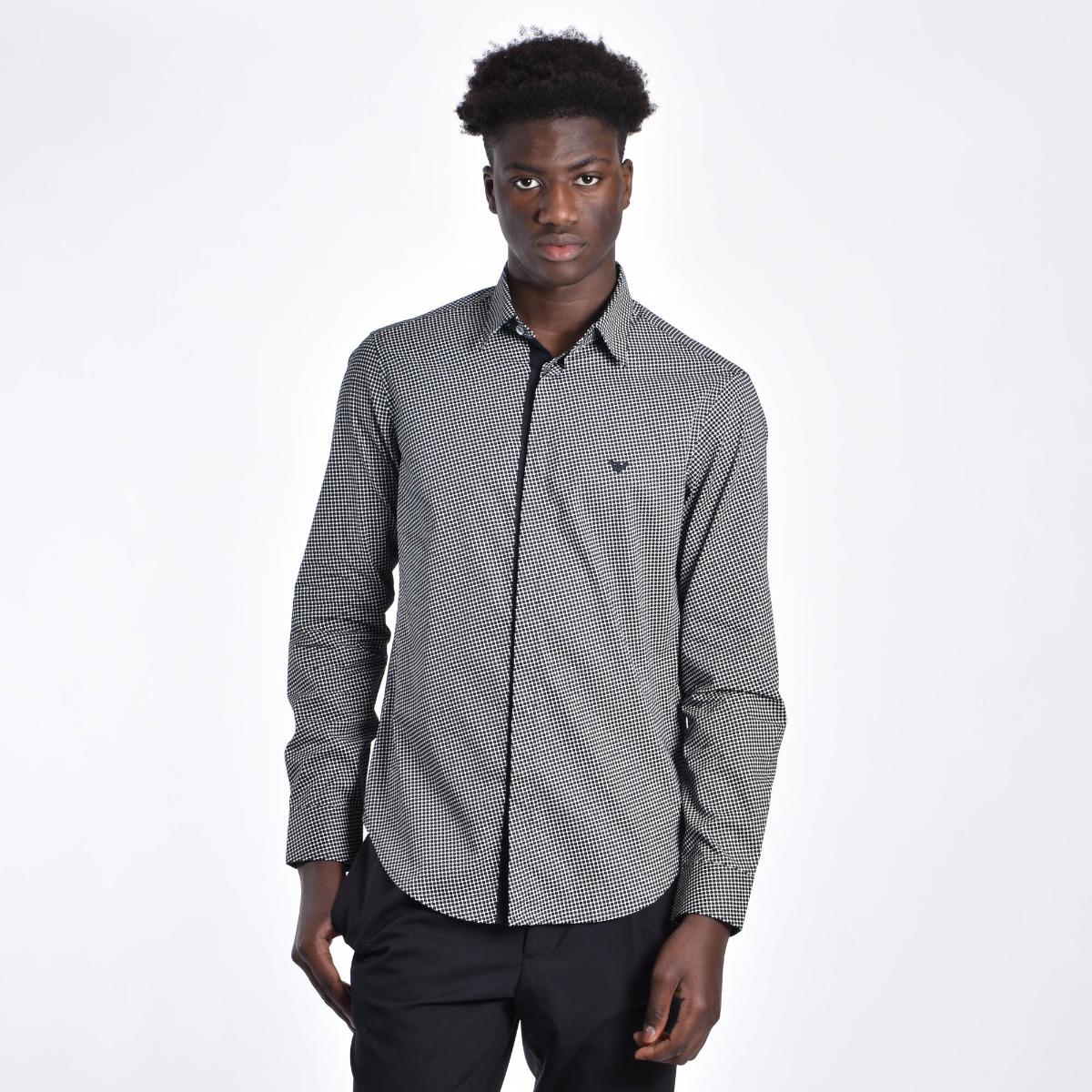Camicia microfantasia quadrato - Bianco/blu
