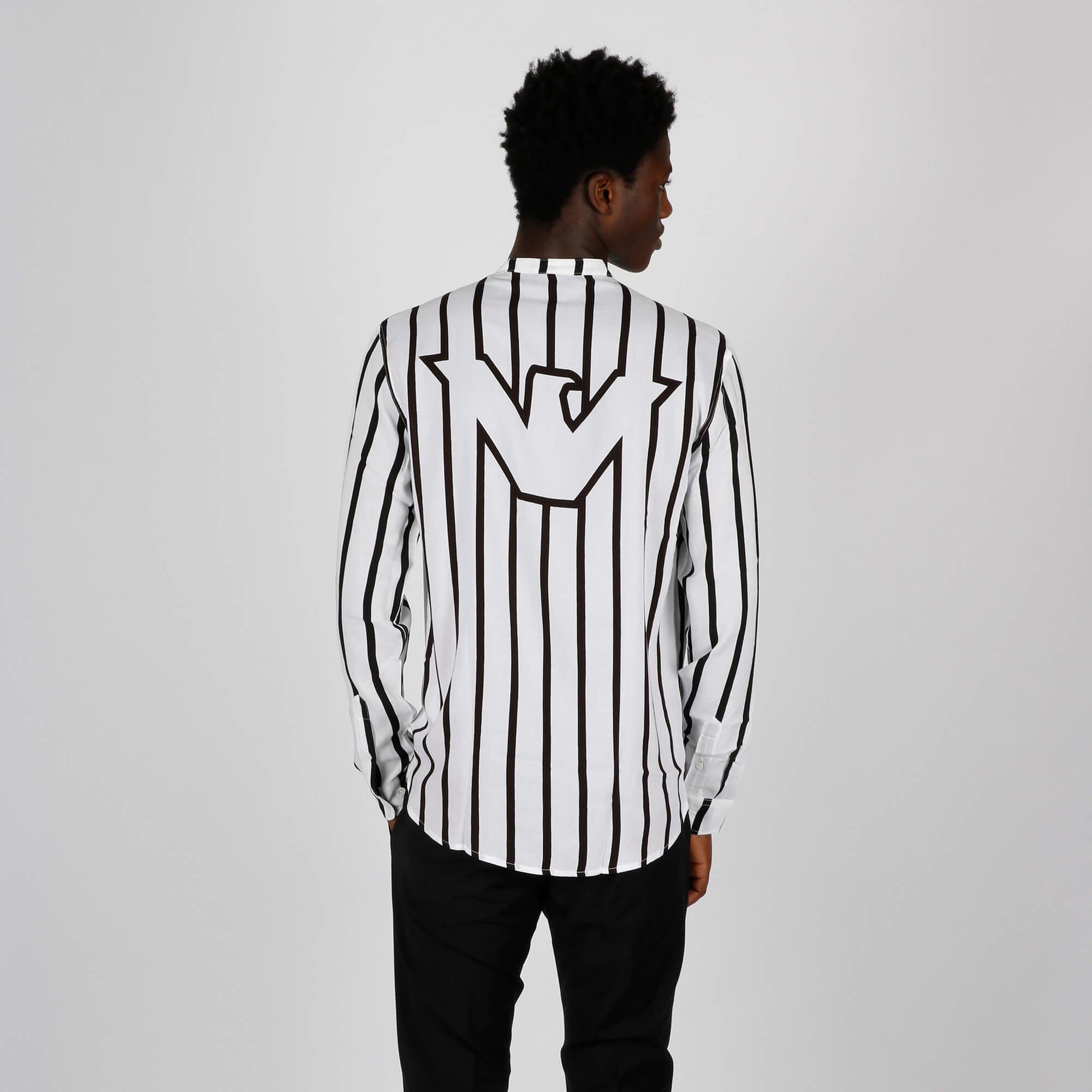 Camicia coreano riga - Bianco