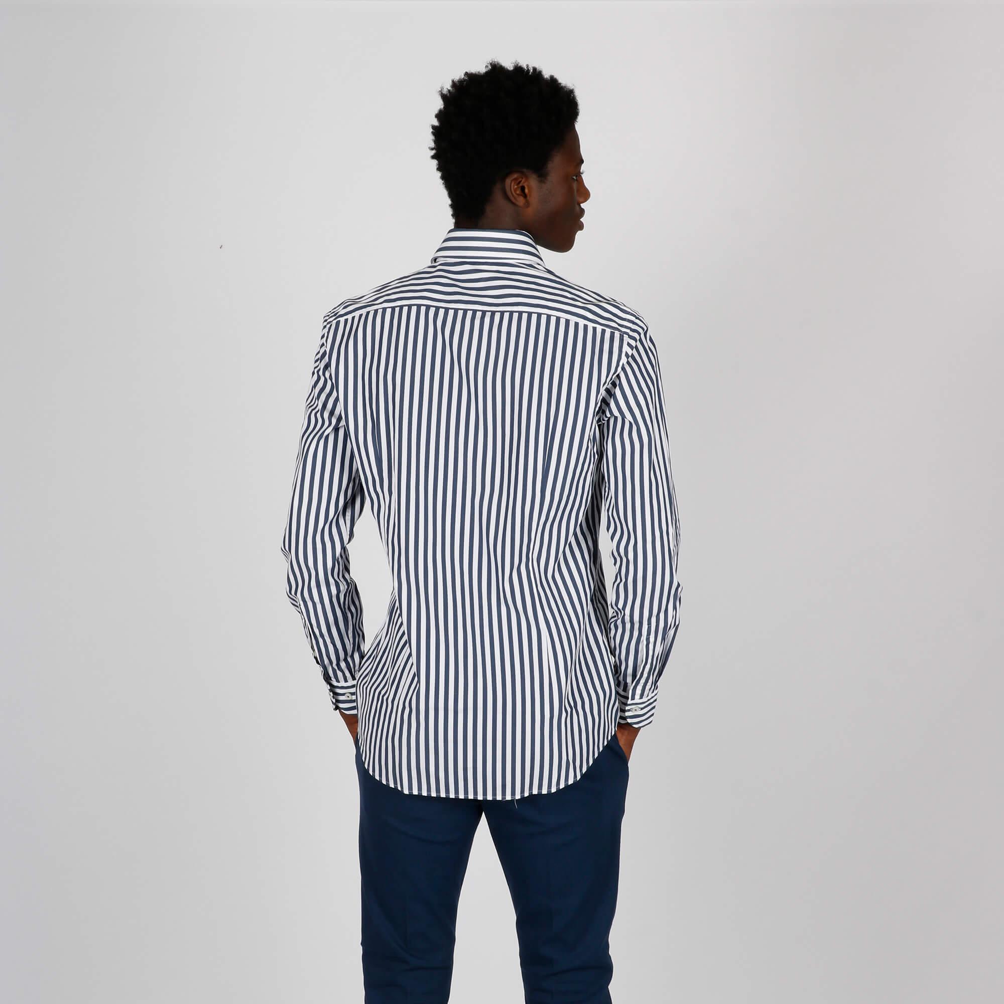 Camicia righe slim - Blu