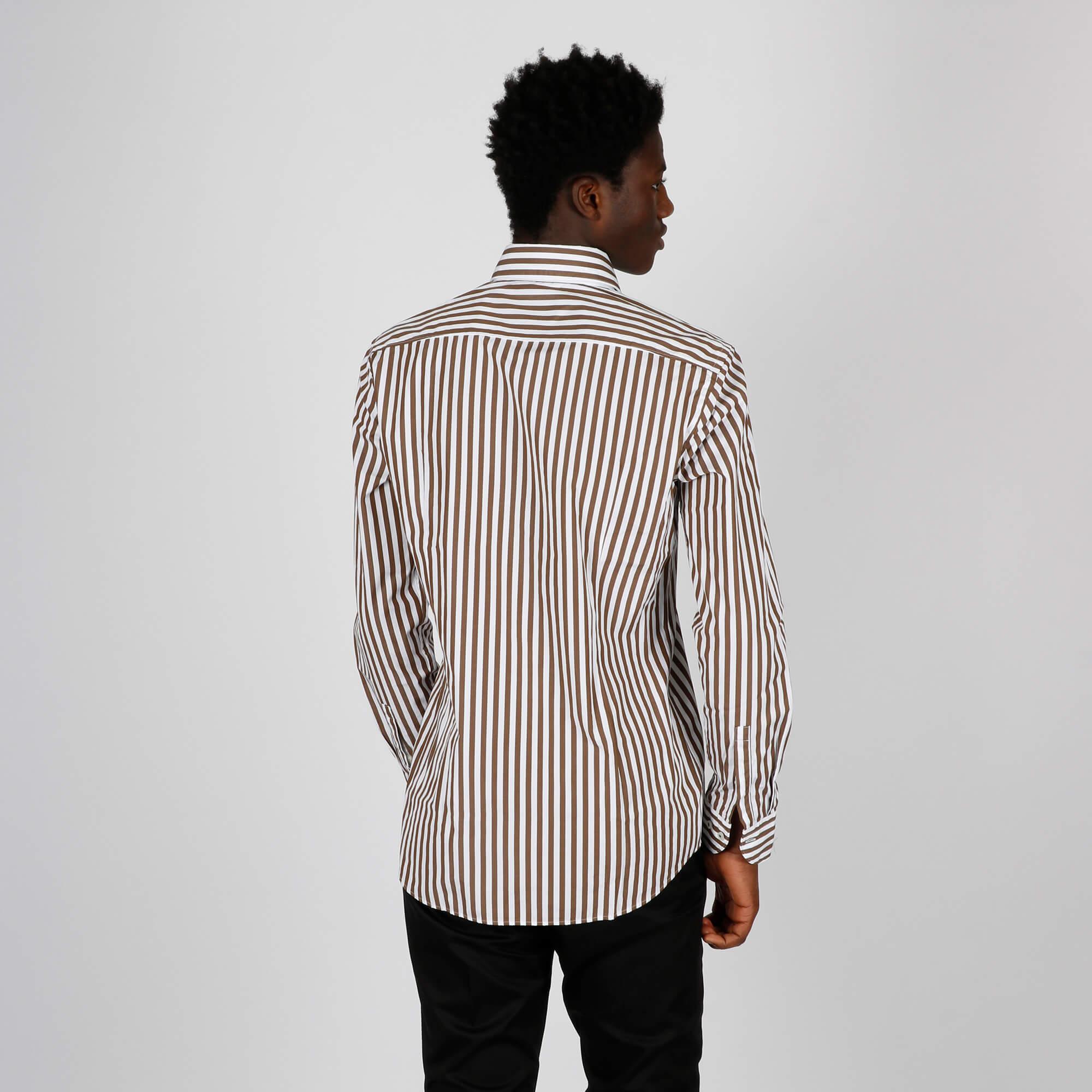 Camicia righe slim - Marrone