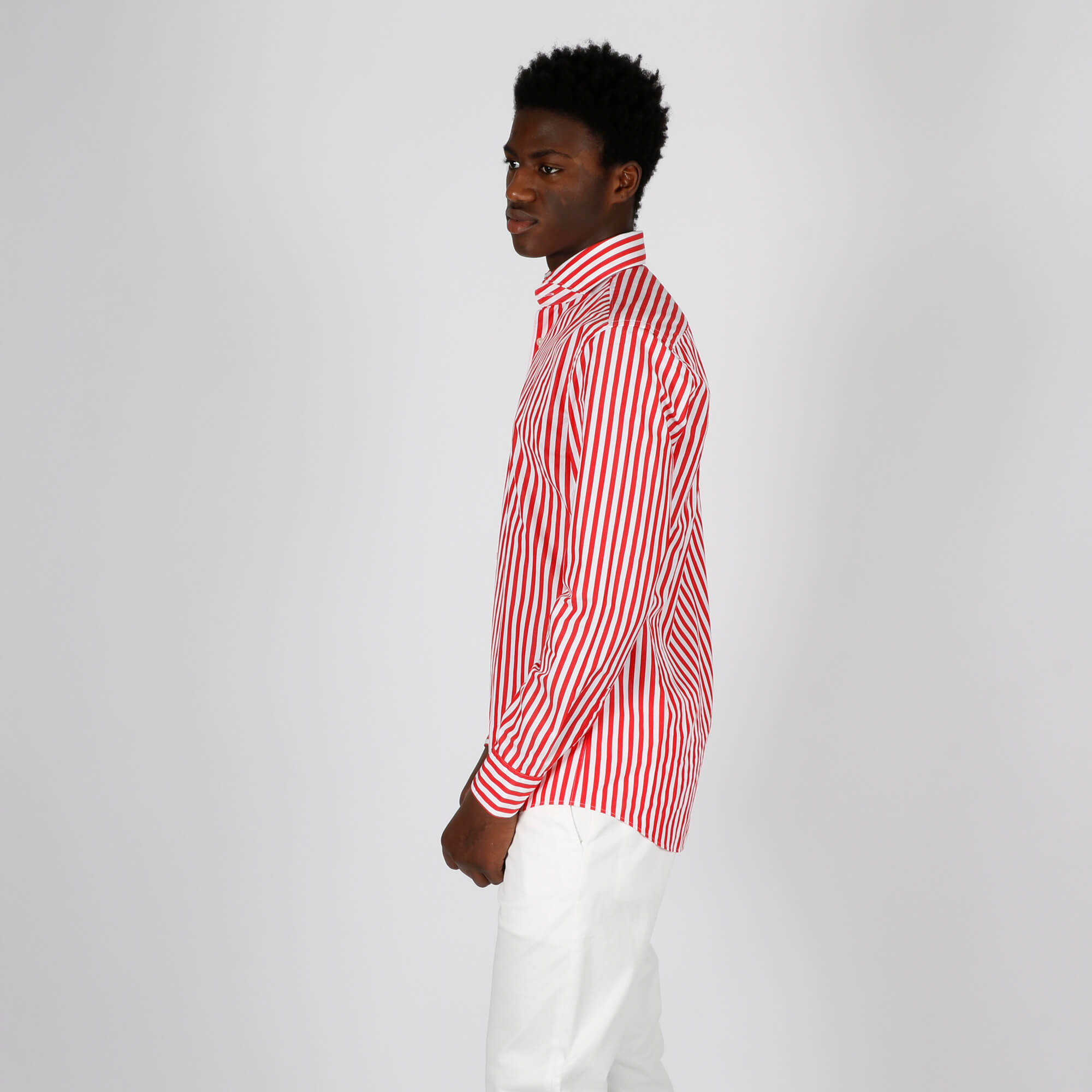 Camicia righe slim - Rosso