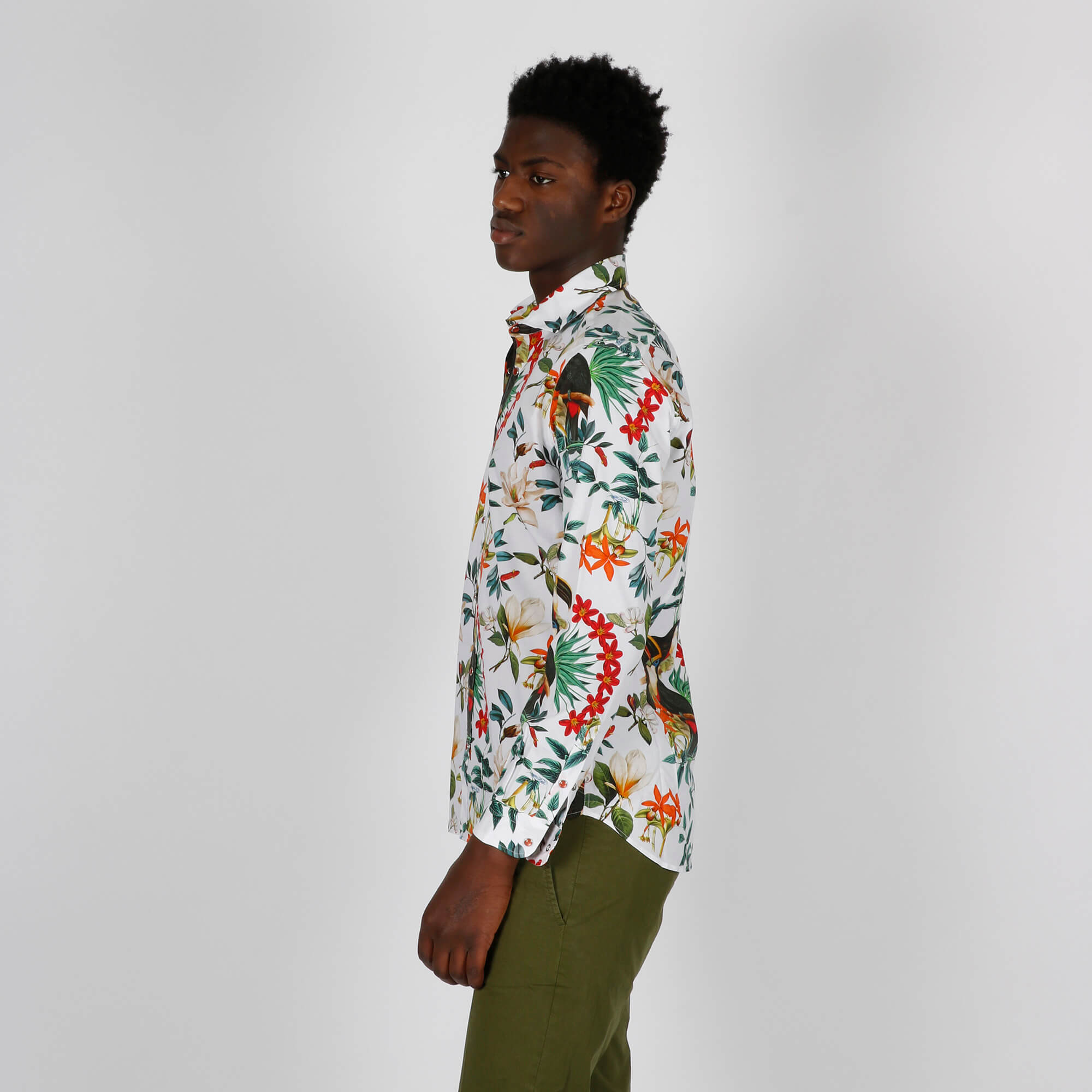 Camicia stampa floreale- Bianco