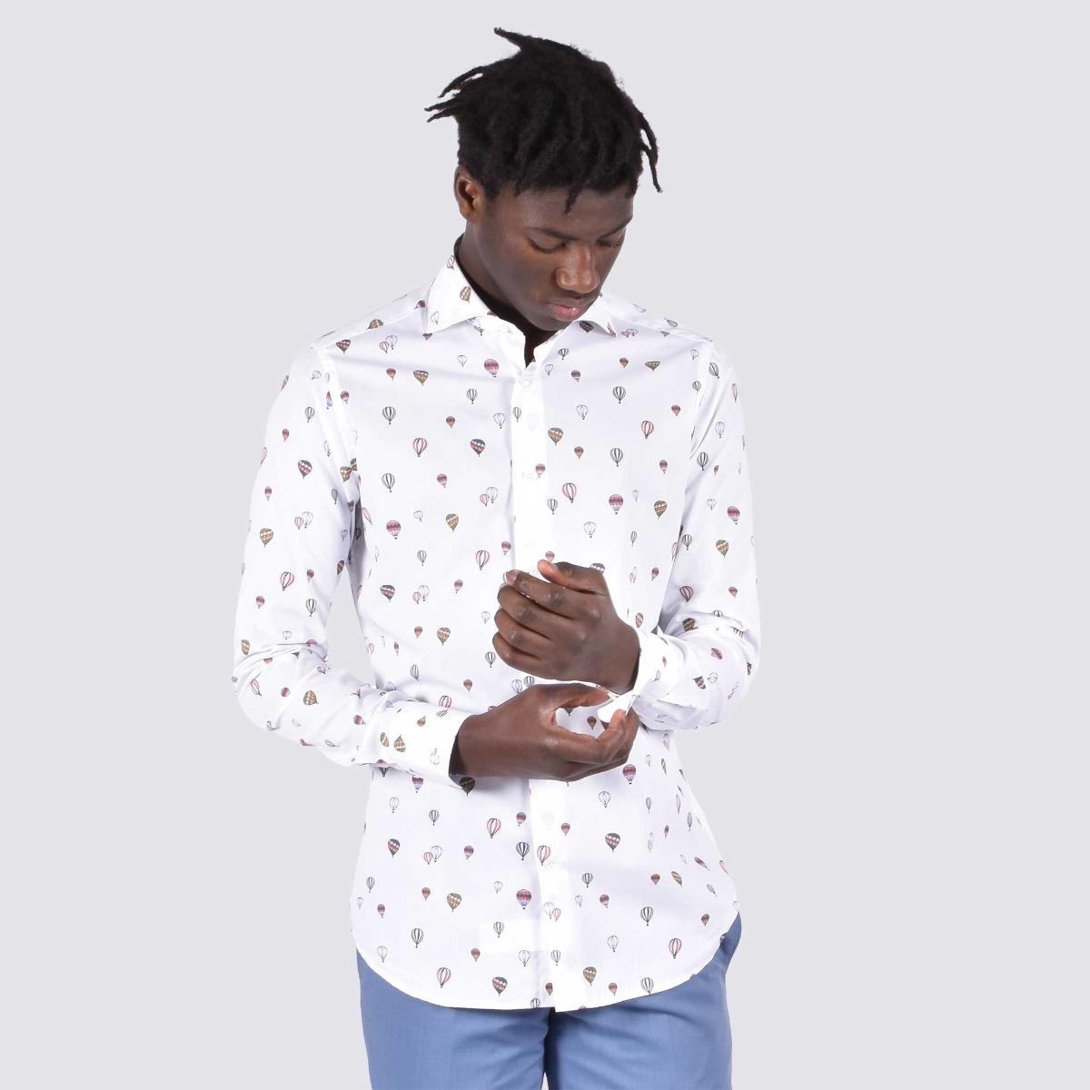 Camicia stampa mongolfiere- Bianco