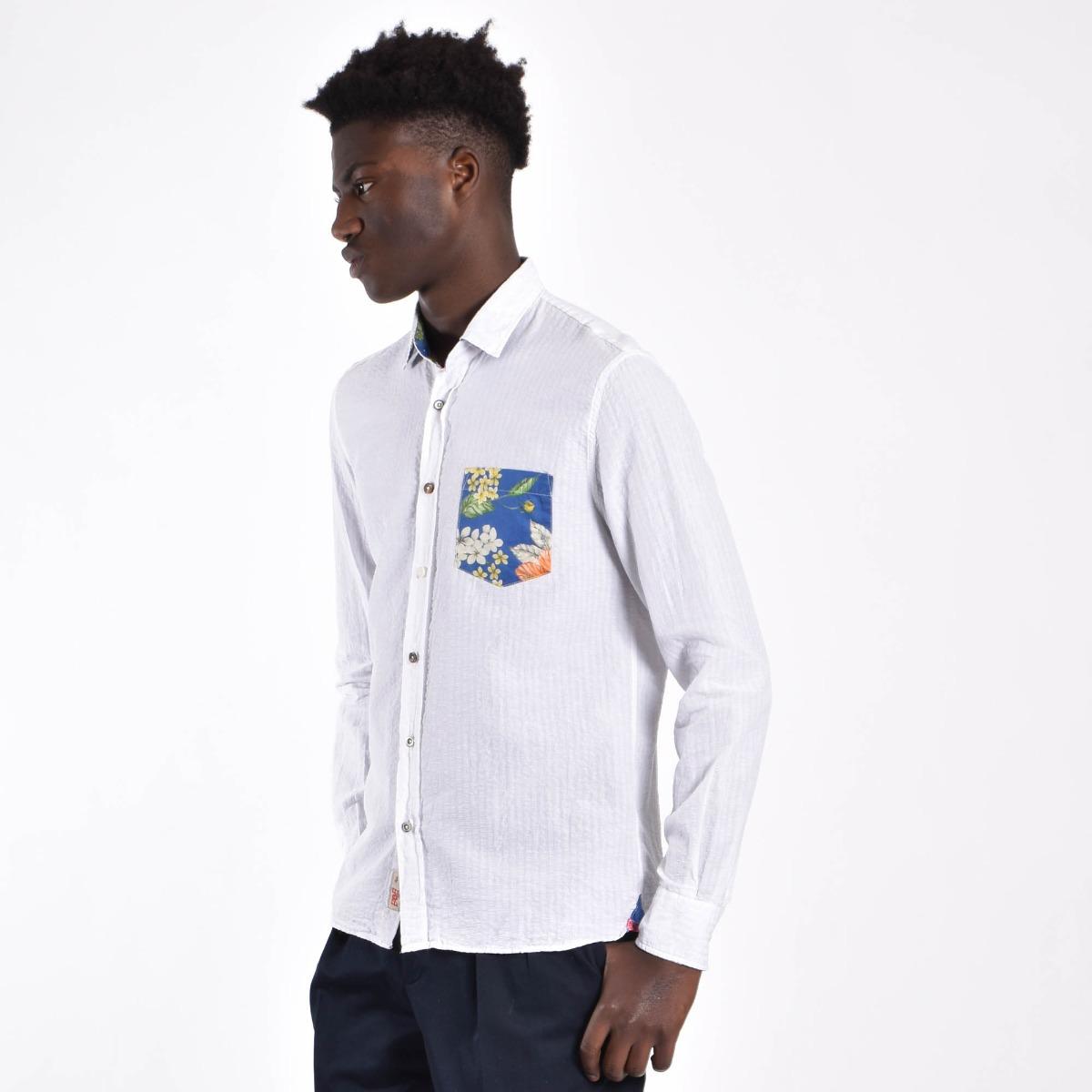 Camicia rigata cotone lino - Bianco