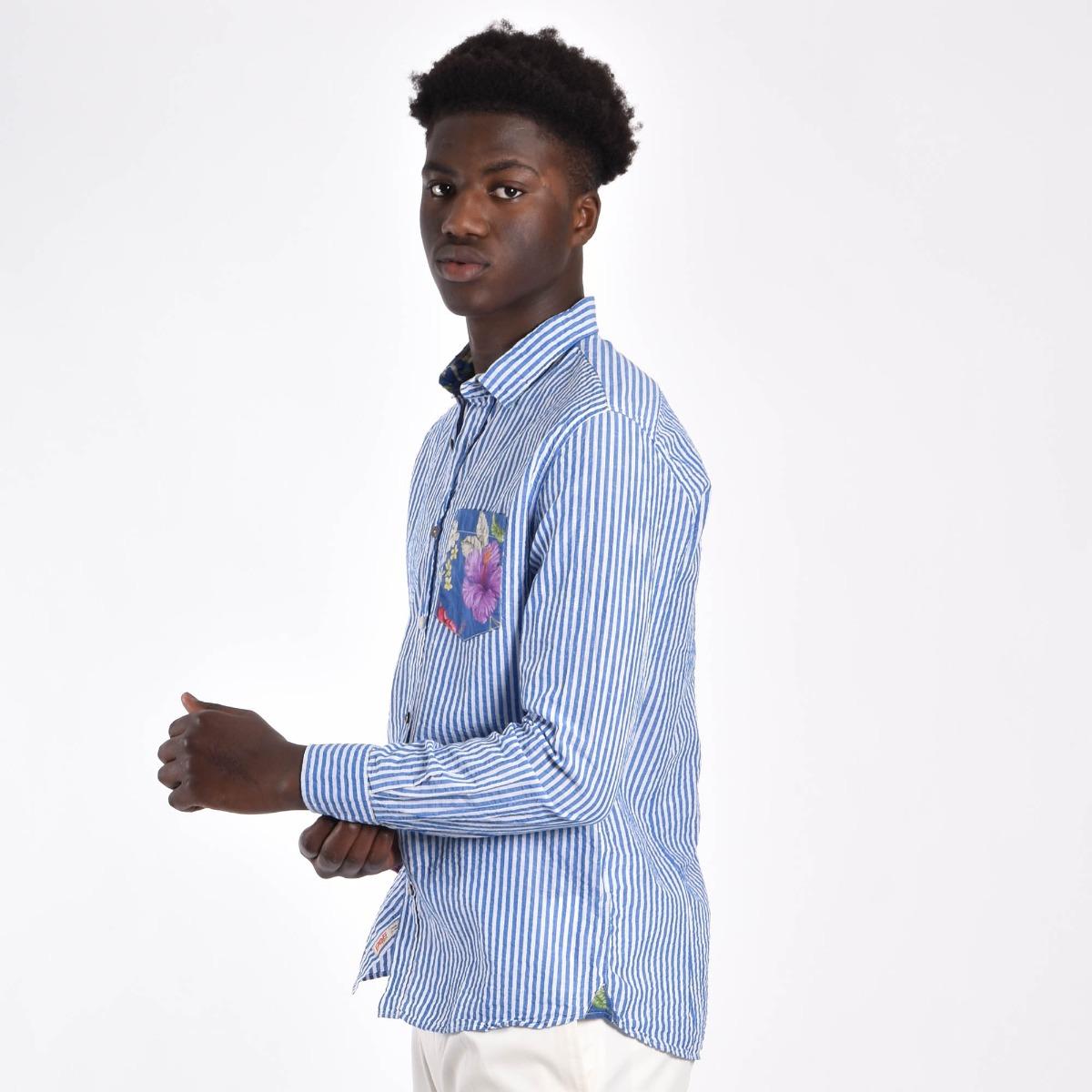 Camicia rigata cotone lino - Blu/bianco
