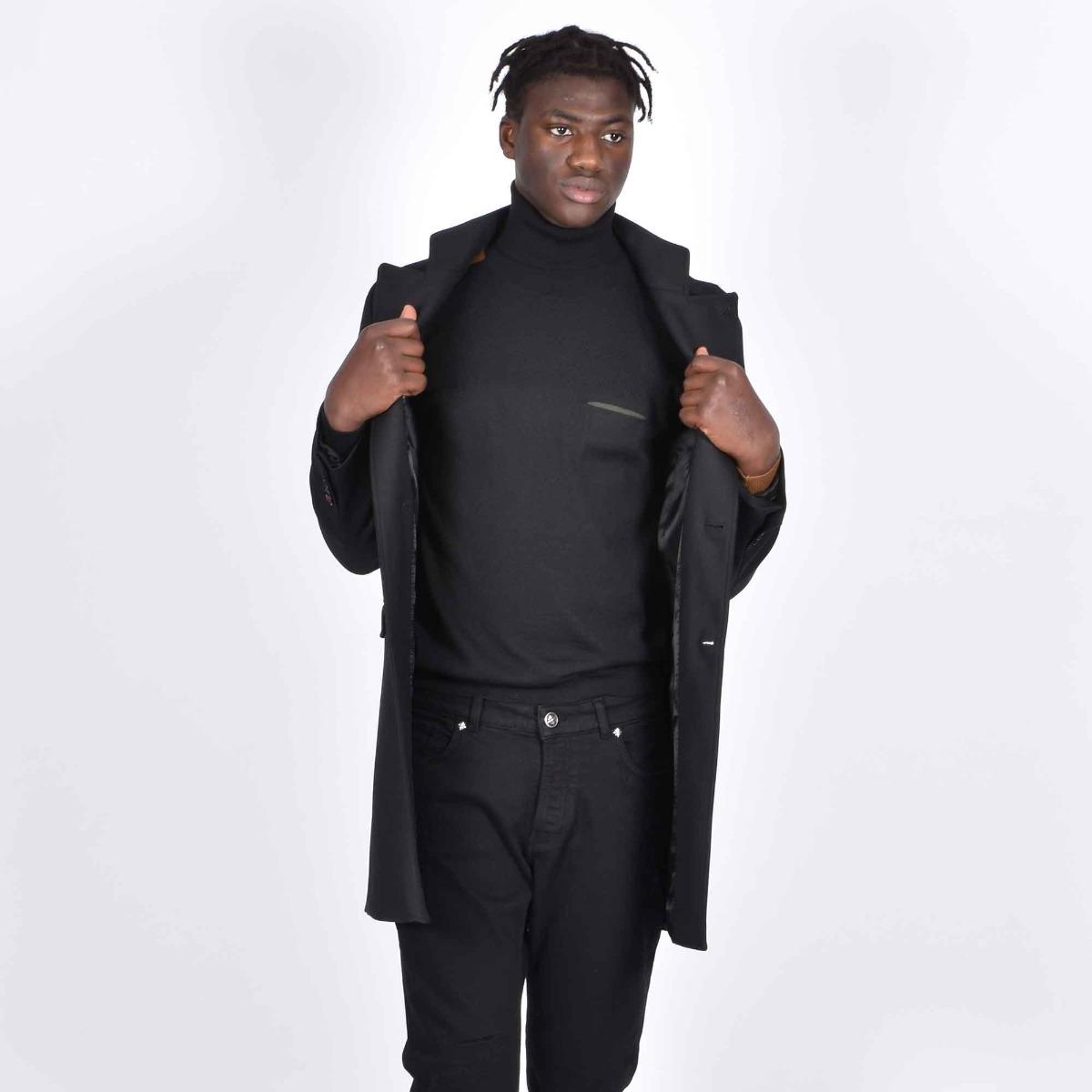 Cappotto collo coreano- Nero