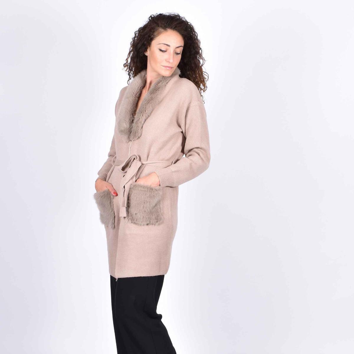 Cappotto in maglia con ecopelliccia- Beige