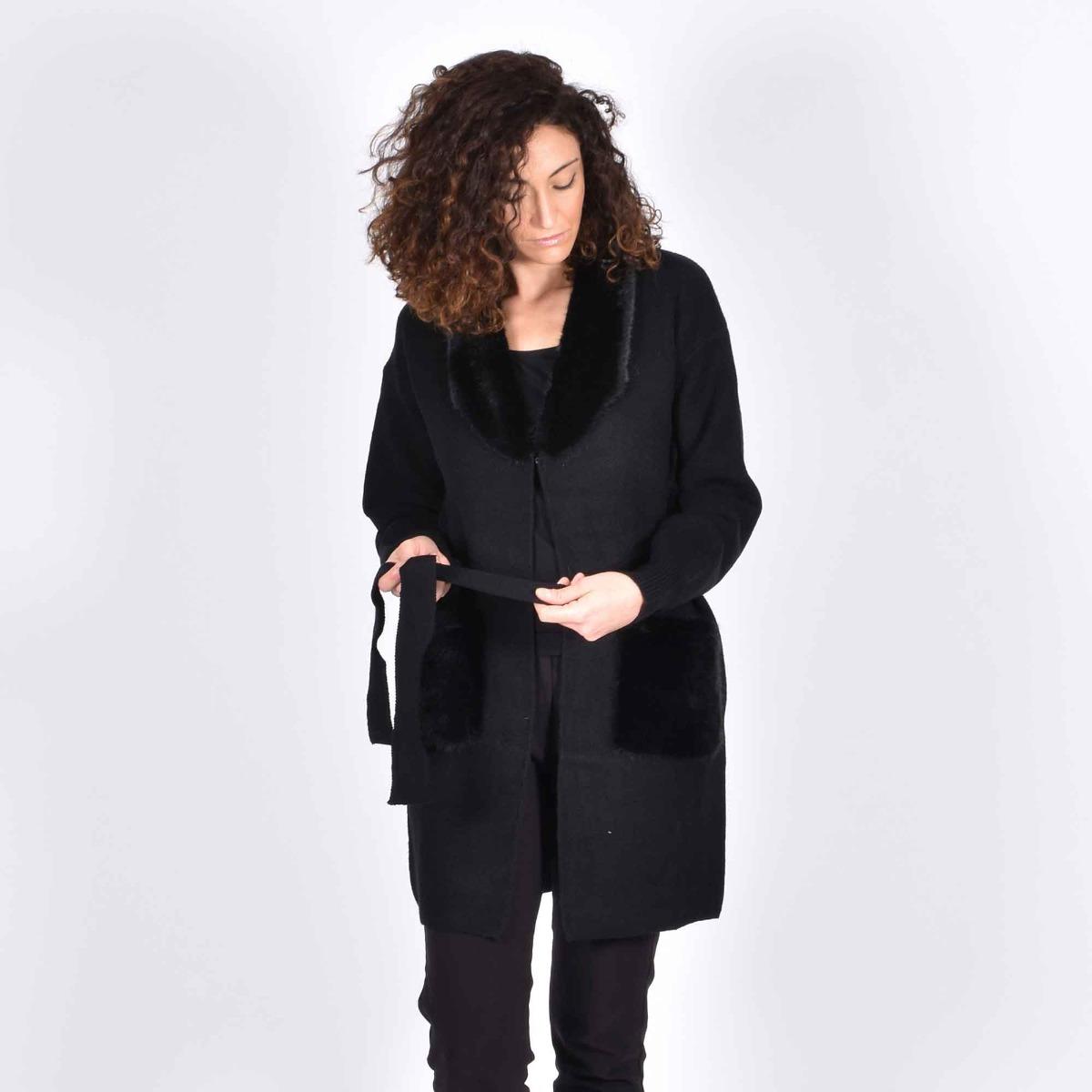Cappotto in maglia con ecopelliccia- Nero